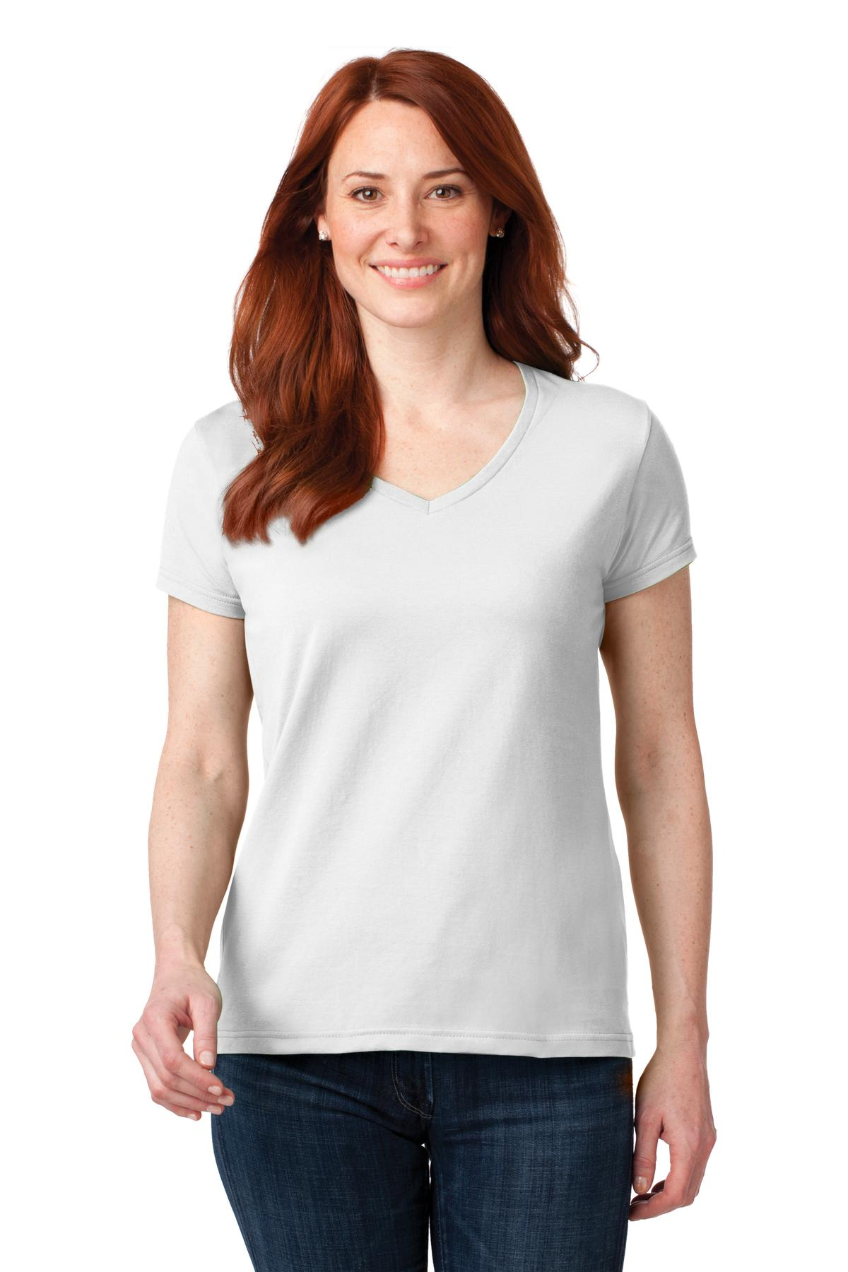 Anvil Ladies 100% Combed Ring Spun Cotton V-Neck T-Shirt. 88VL