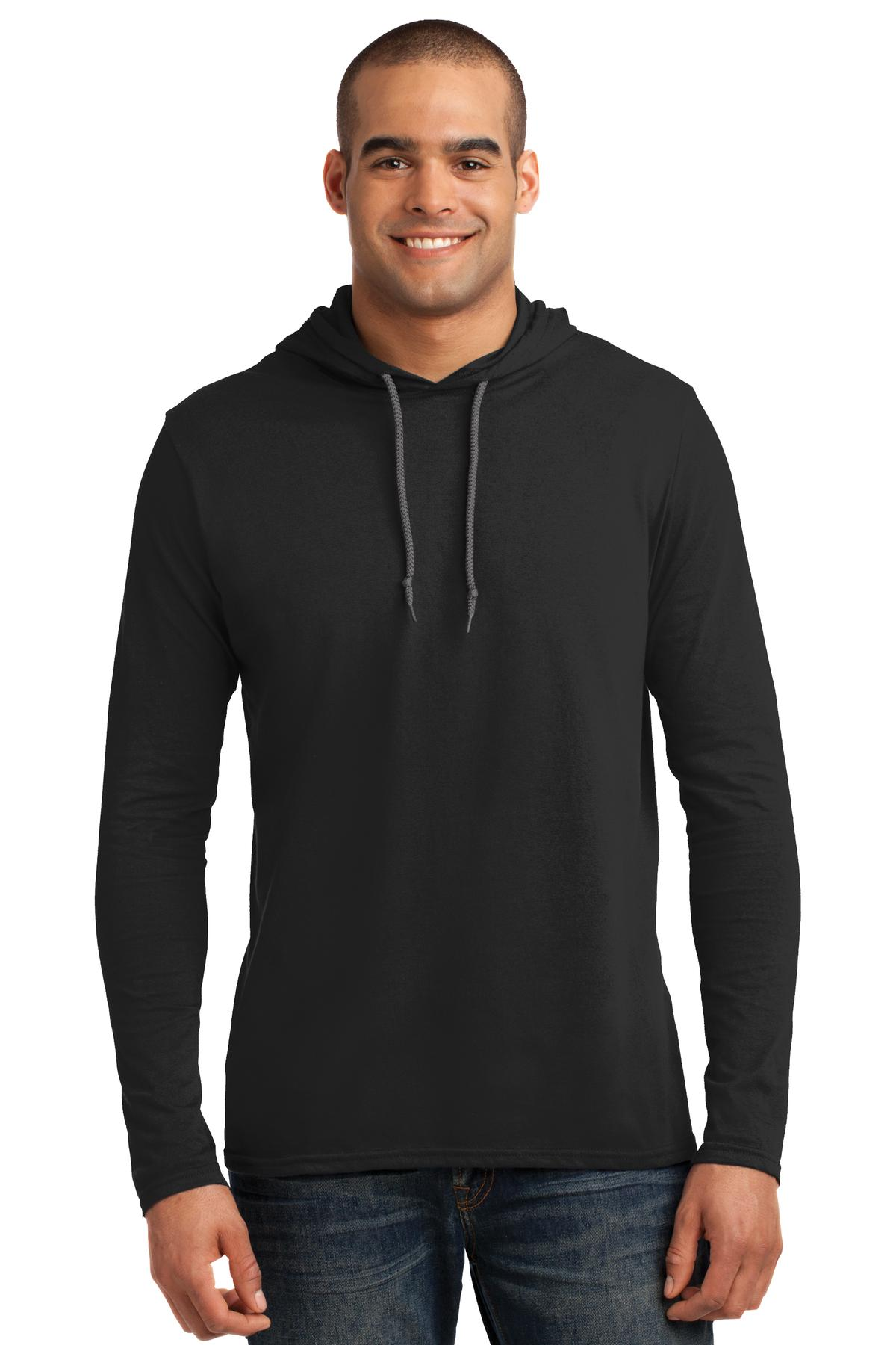 Anvil ®  100% Combed Ring Spun Cotton Long Sleeve Hooded T-Shirt. 987 - Black/ Dark Grey