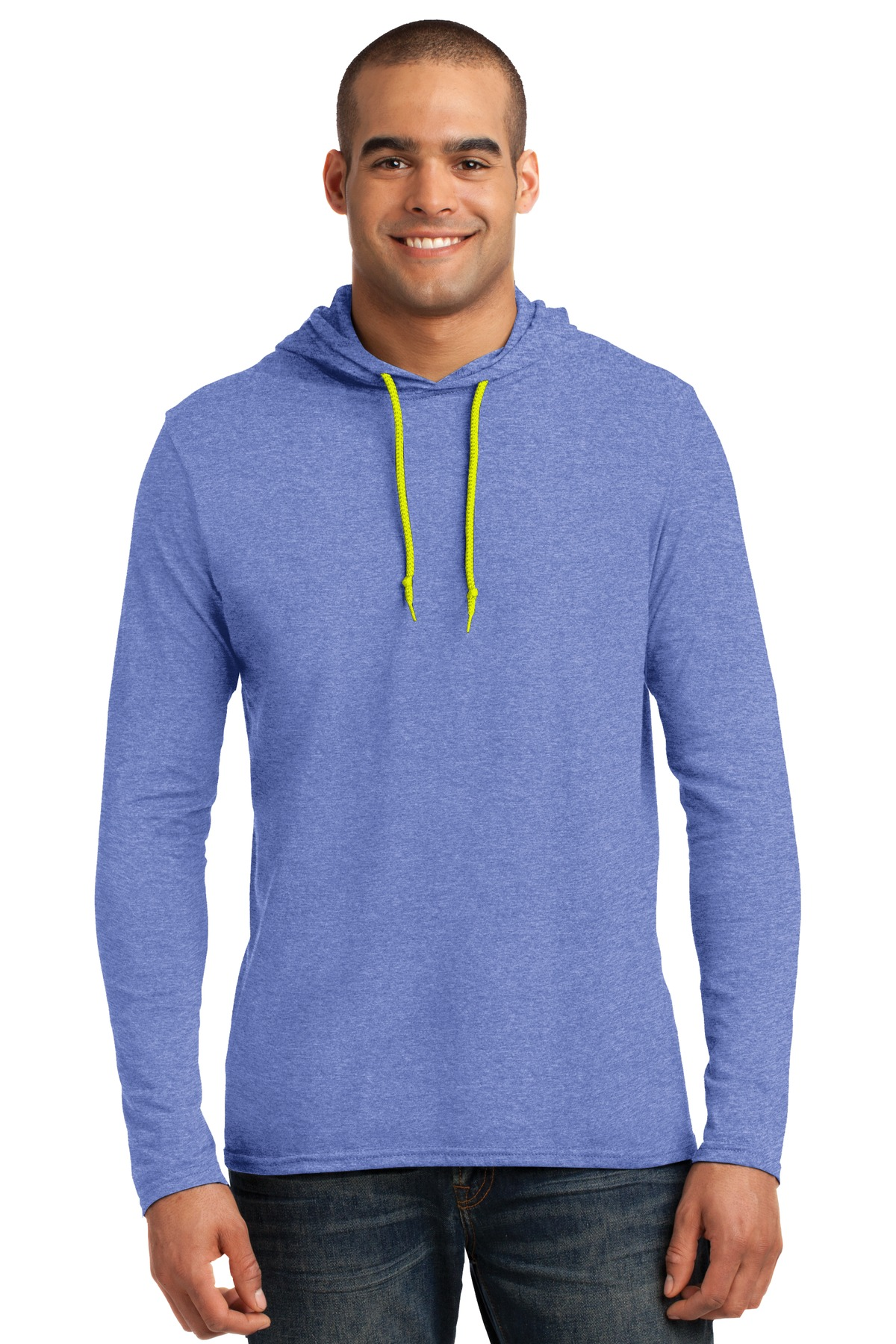 Anvil ®  100% Combed Ring Spun Cotton Long Sleeve Hooded T-Shirt. 987 - Heather Blue/ Neon Yellow