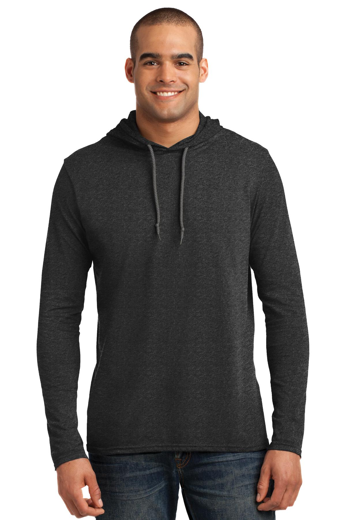 Anvil ®  100% Combed Ring Spun Cotton Long Sleeve Hooded T-Shirt. 987 - Heather Dark Grey/ Dark Grey