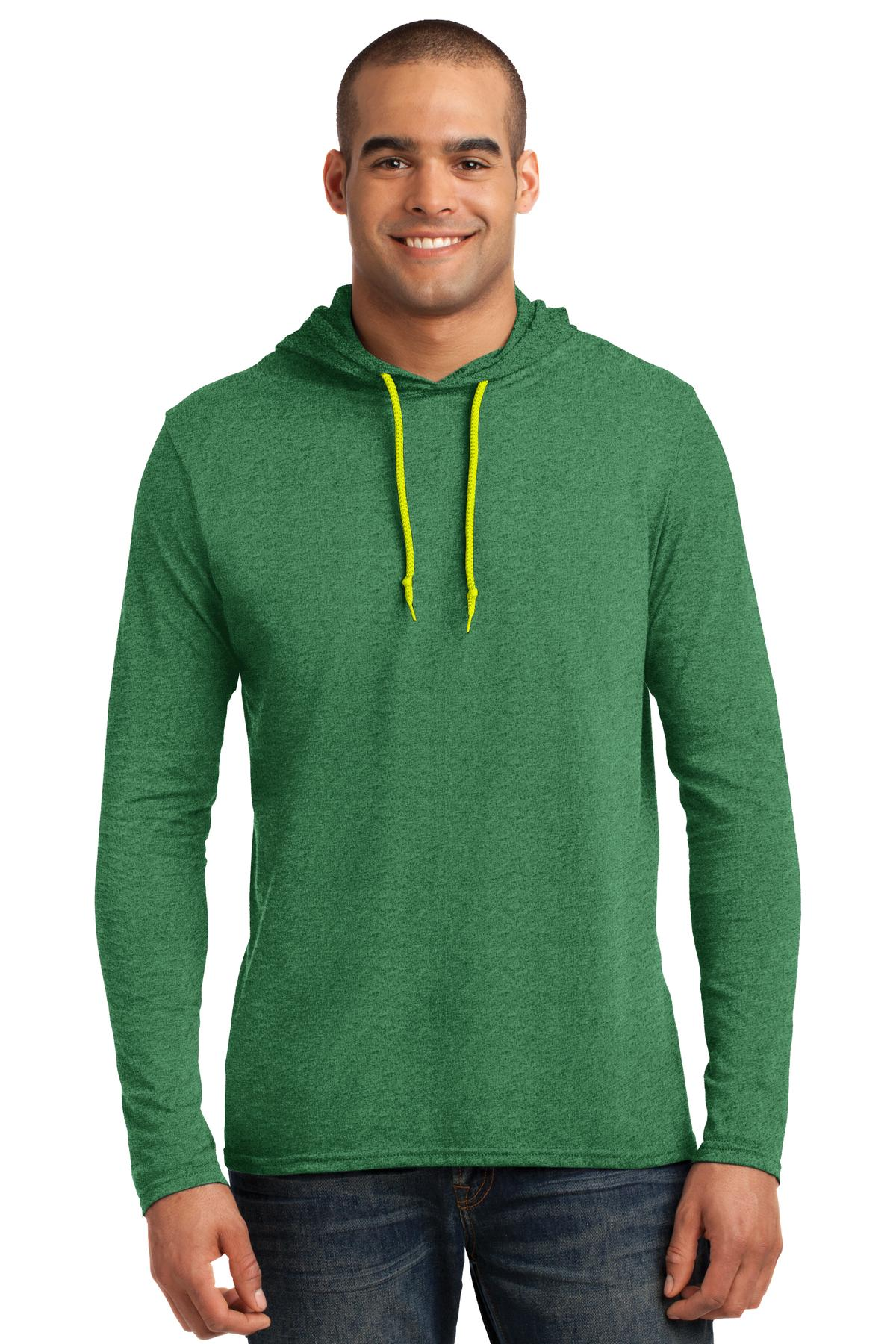 Anvil ®  100% Combed Ring Spun Cotton Long Sleeve Hooded T-Shirt. 987 - Heather Green/ Neon Yellow