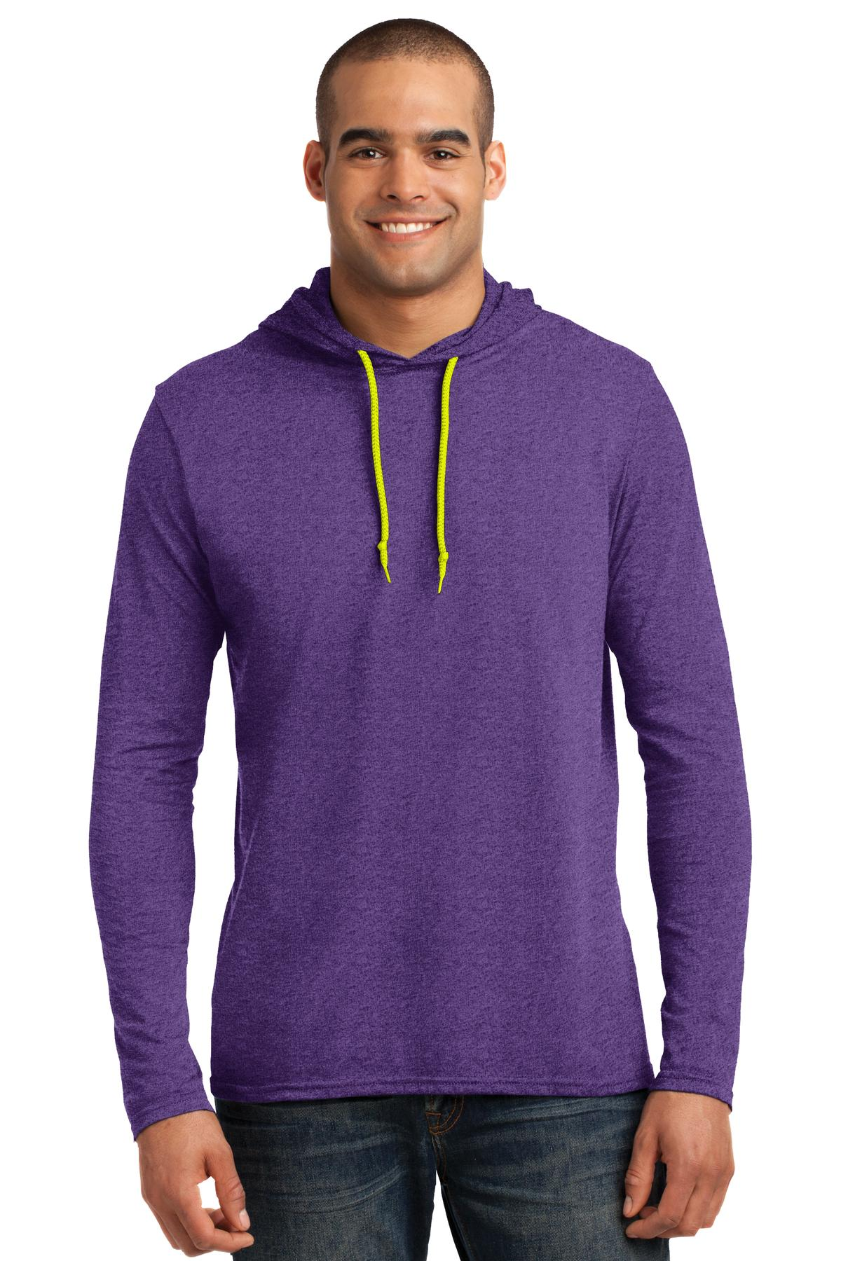 Anvil ®  100% Combed Ring Spun Cotton Long Sleeve Hooded T-Shirt. 987 - Heather Purple/ Neon Yellow