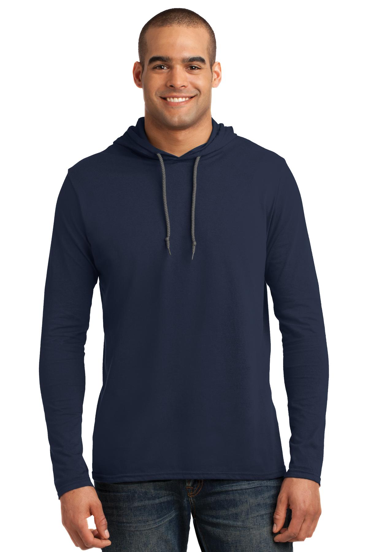 Anvil ®  100% Combed Ring Spun Cotton Long Sleeve Hooded T-Shirt. 987 - Navy/ Dark Grey