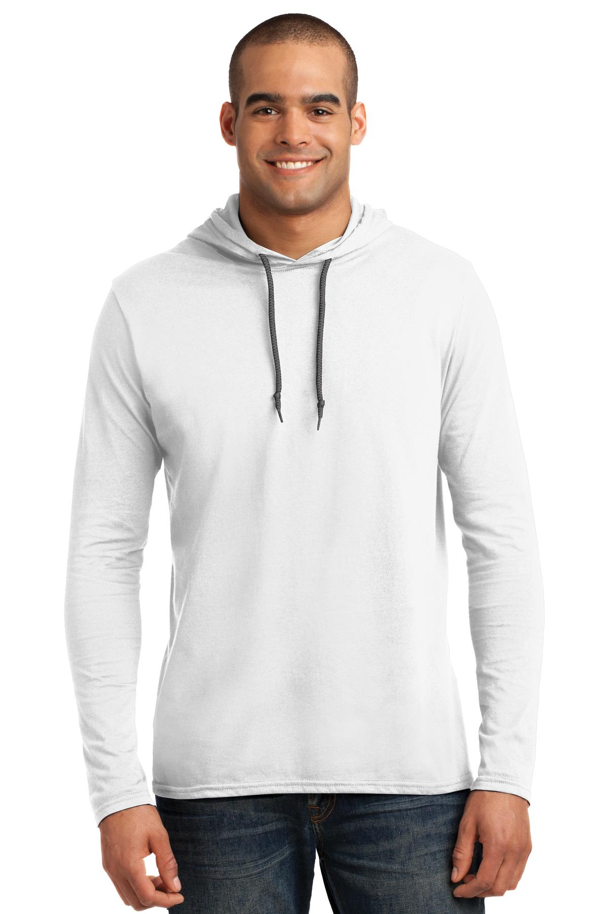 Anvil ®  100% Combed Ring Spun Cotton Long Sleeve Hooded T-Shirt. 987 - White/ Dark Grey