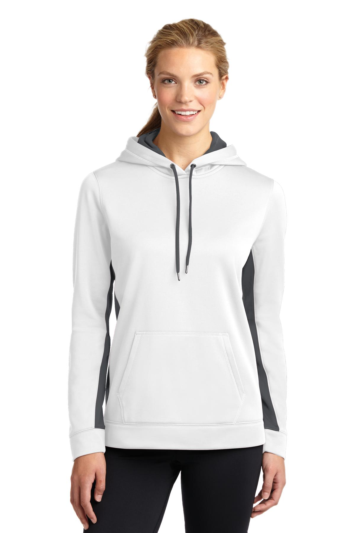 Sport-Tek ®  Ladies Sport-Wick ®  Fleece Colorblock Hooded Pullover. LST235 - White/ Dark Smoke Grey