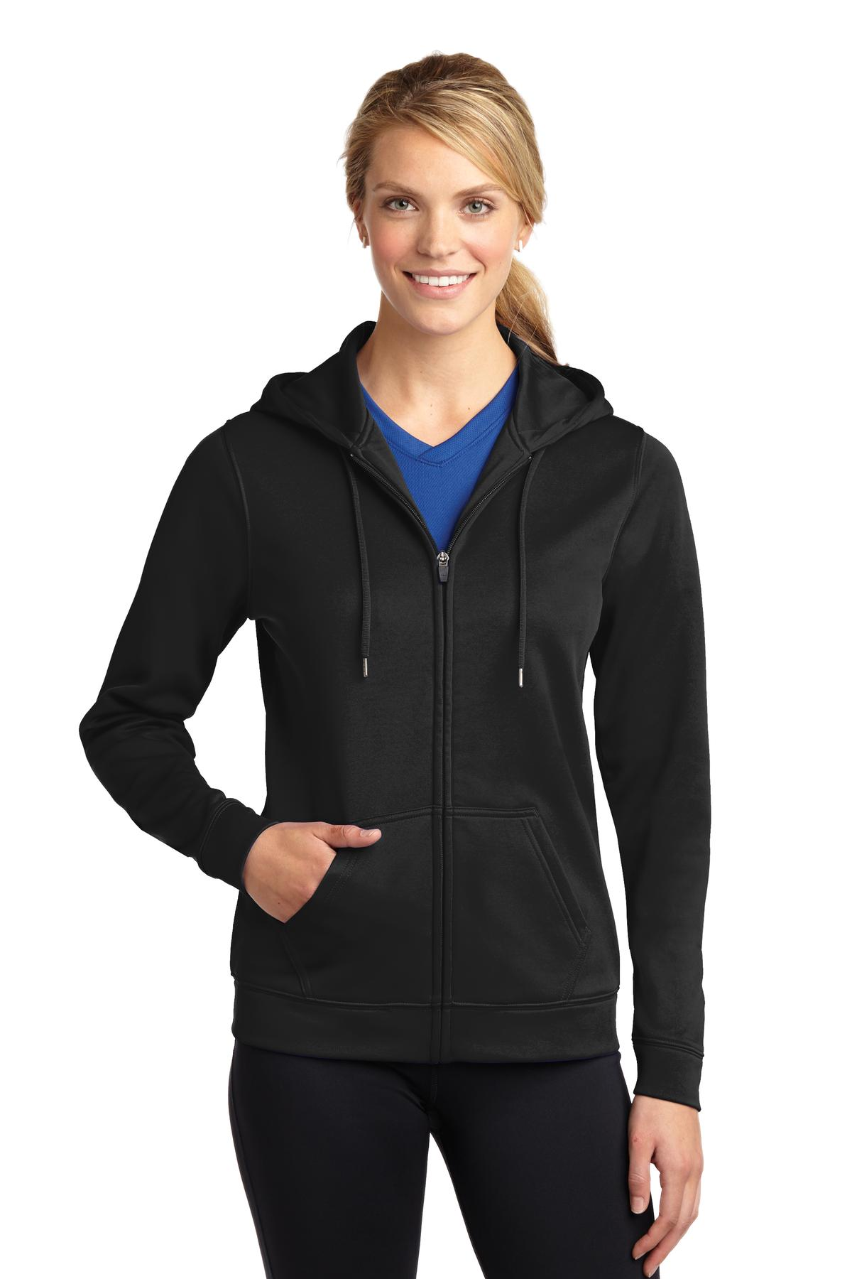 Sport-Tek ®  Ladies Sport-Wick ®  Fleece Full-Zip Hooded Jacket. LST238 - Black