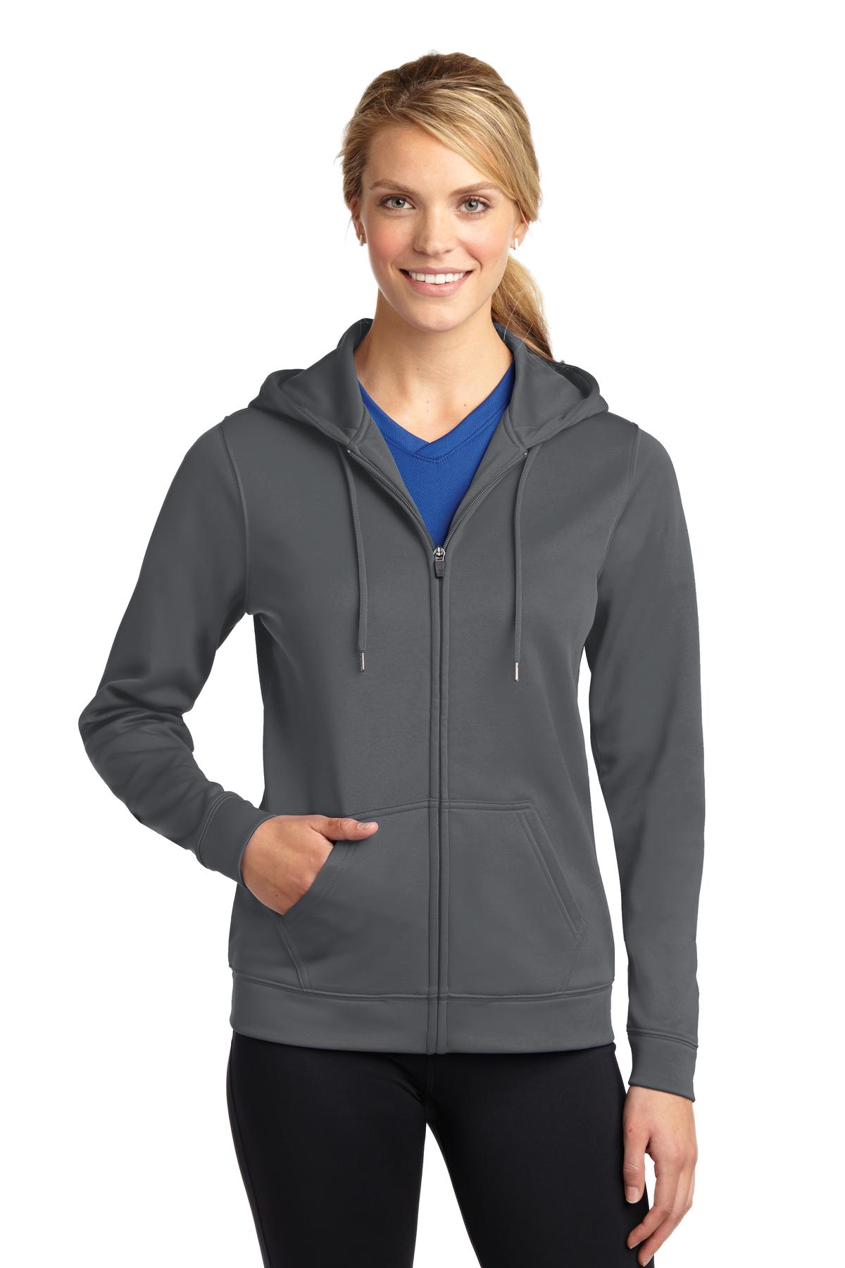 Sport-Tek ®  Ladies Sport-Wick ®  Fleece Full-Zip Hooded Jacket. LST238 - Dark Smoke Grey