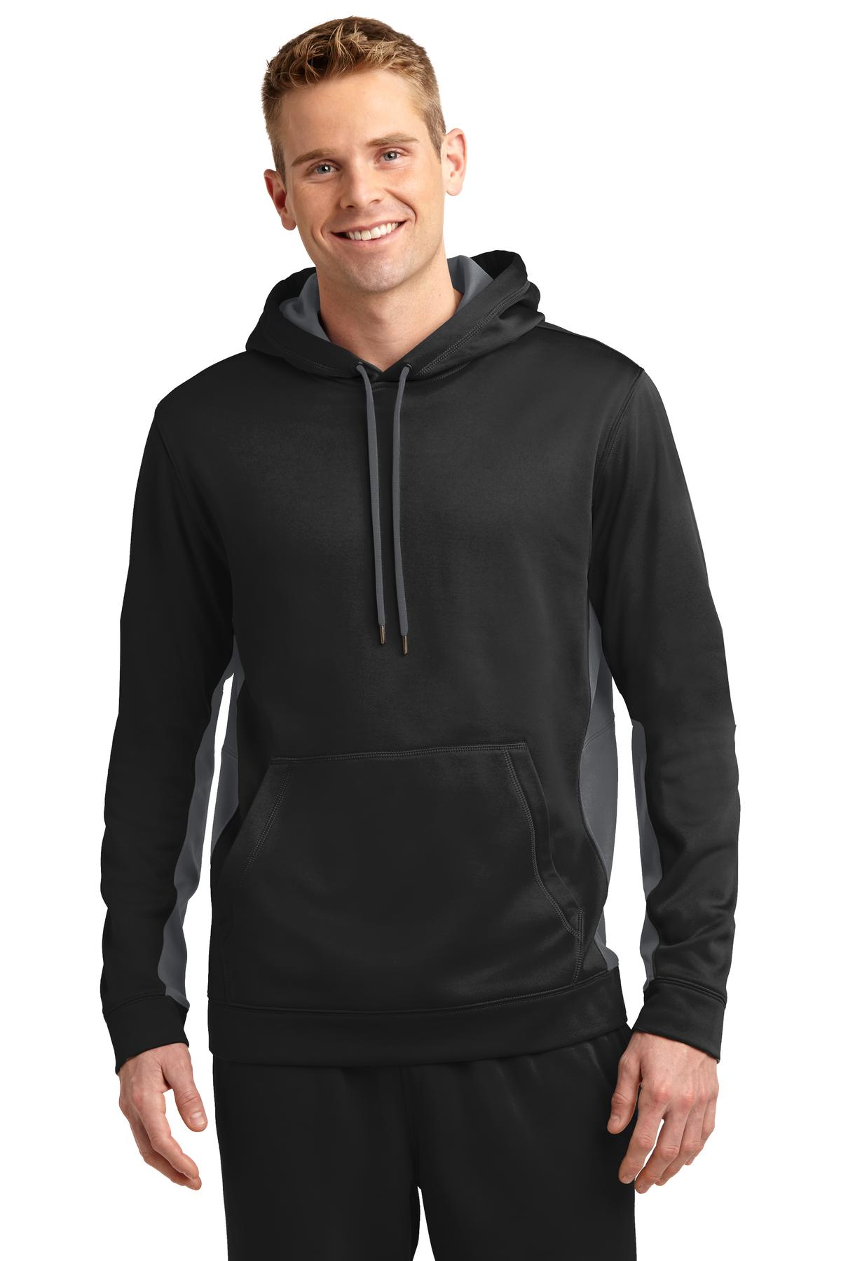 Sport-Tek ®  Sport-Wick ®  Fleece Colorblock Hooded Pullover. ST235 - Black/ Dark Smoke Grey