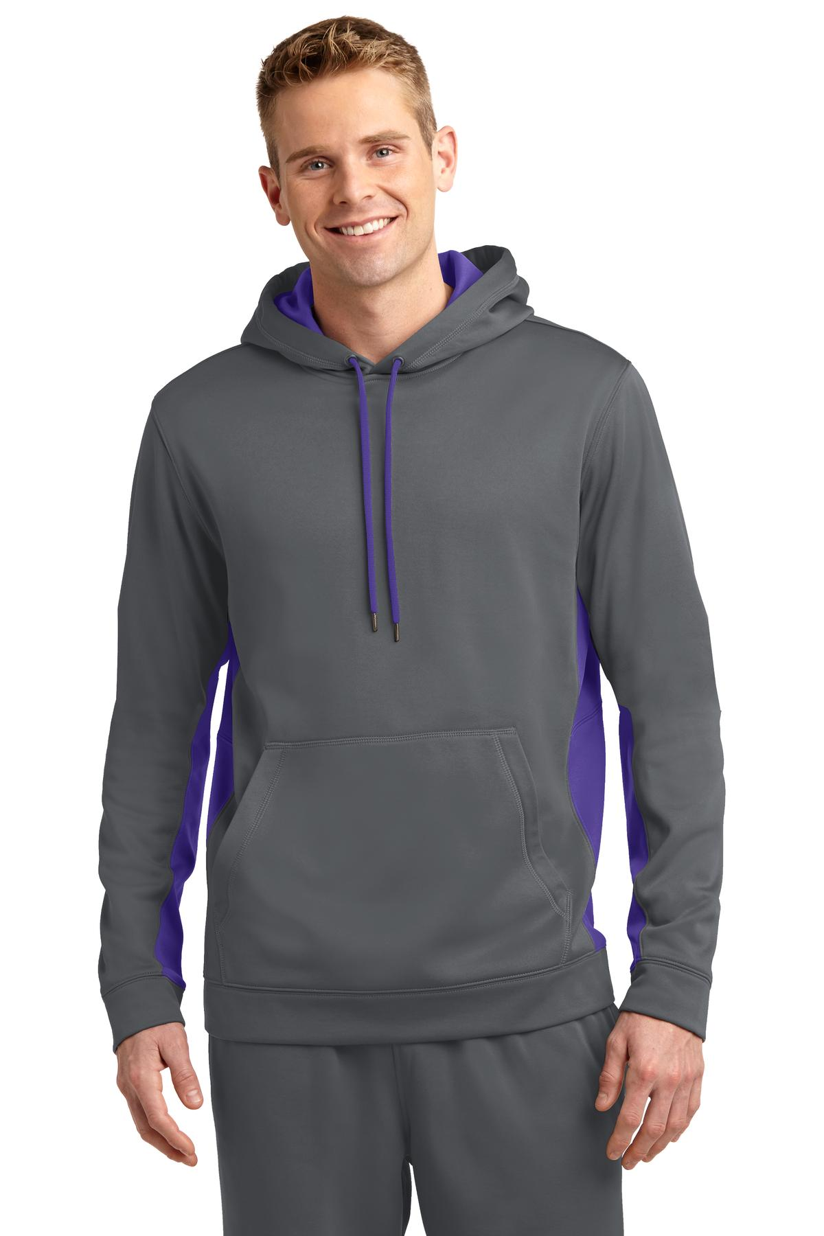 Sport-Tek ®  Sport-Wick ®  Fleece Colorblock Hooded Pullover. ST235 - Dark Smoke Grey/ Purple