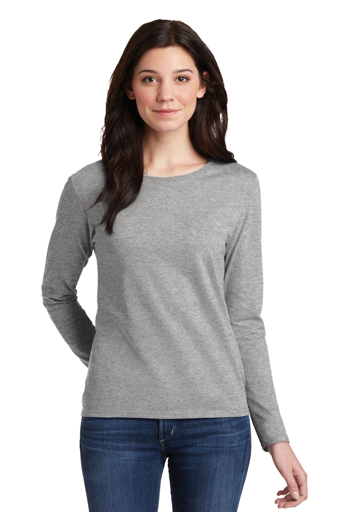 Gildan Ladies Heavy Cotton 100% Cotton Long Sleeve T-Shirt. 5400L