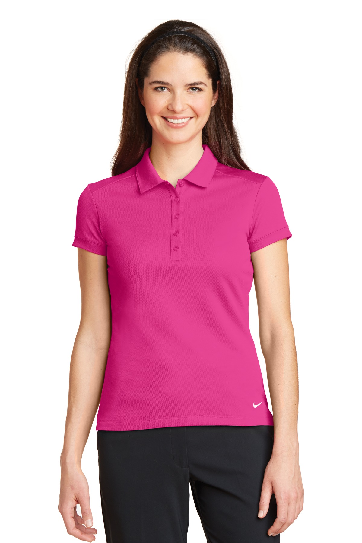 Nike Ladies Dri-FIT Solid Icon Pique Modern Fit Polo.  746100 - Vivid Pink