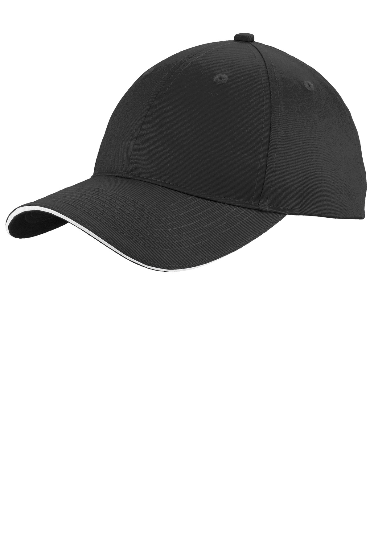 Port & Company ®  Unstructured Sandwich Bill Cap. C919 - Black/ White