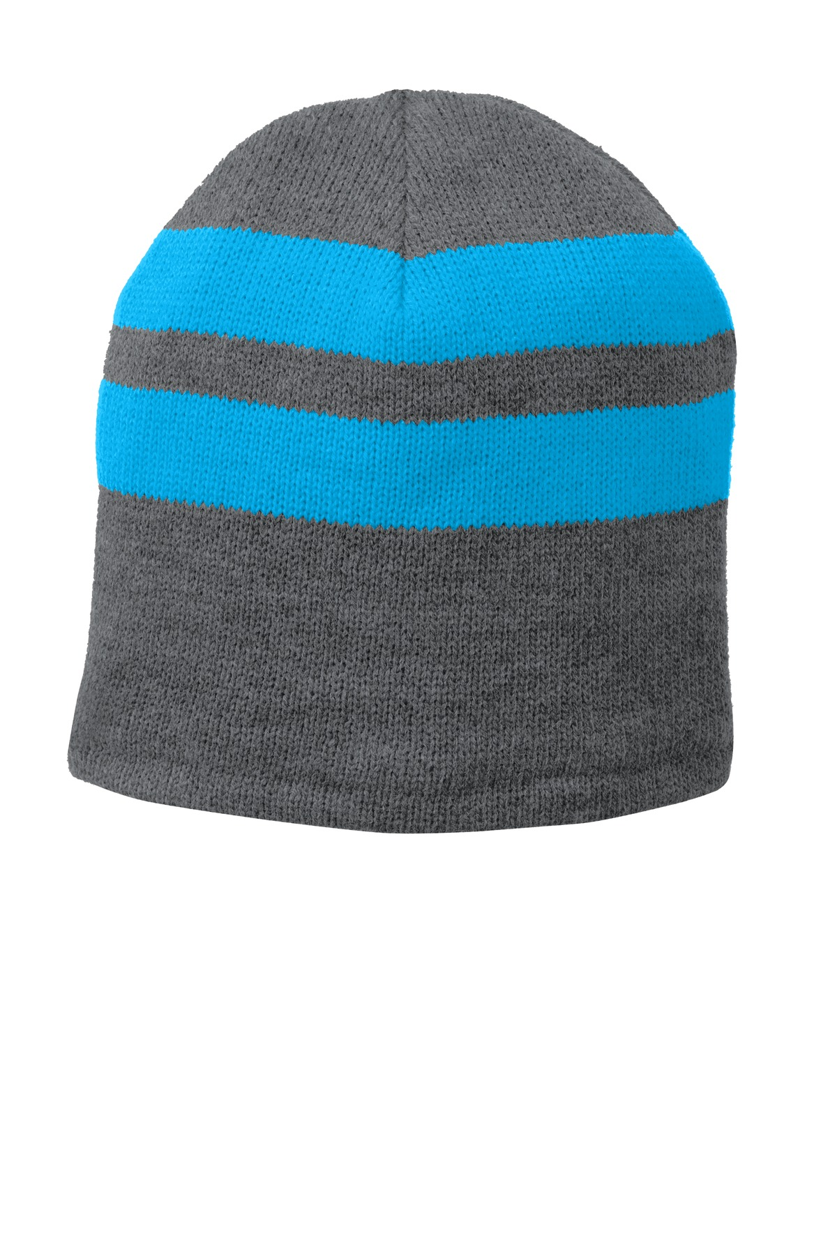 Port & Company ®  Fleece-Lined Striped Beanie Cap. C922 - Athletic Oxford/ Neon Blue