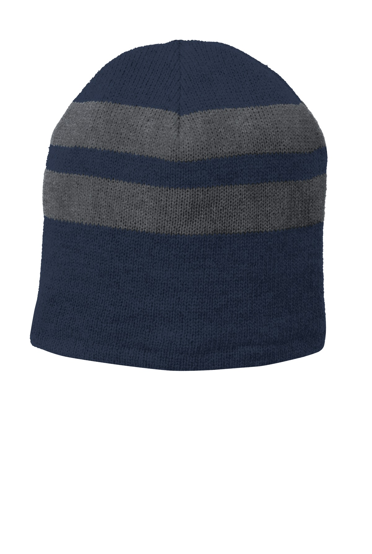 Port & Company ®  Fleece-Lined Striped Beanie Cap. C922 - Navy/ Athletic Oxford
