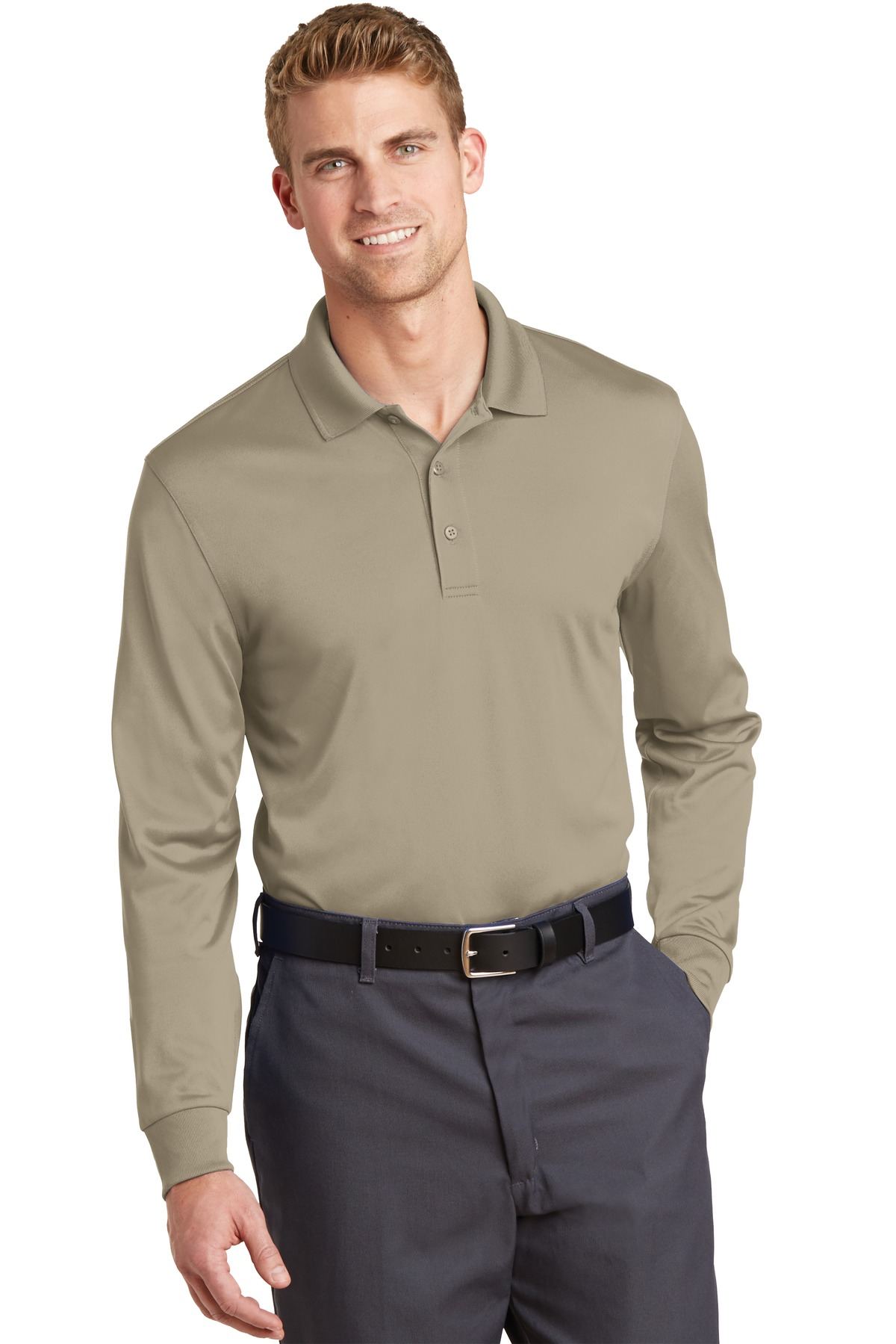 CornerStone ®  Select Snag-Proof Long Sleeve Polo. CS412LS - Tan