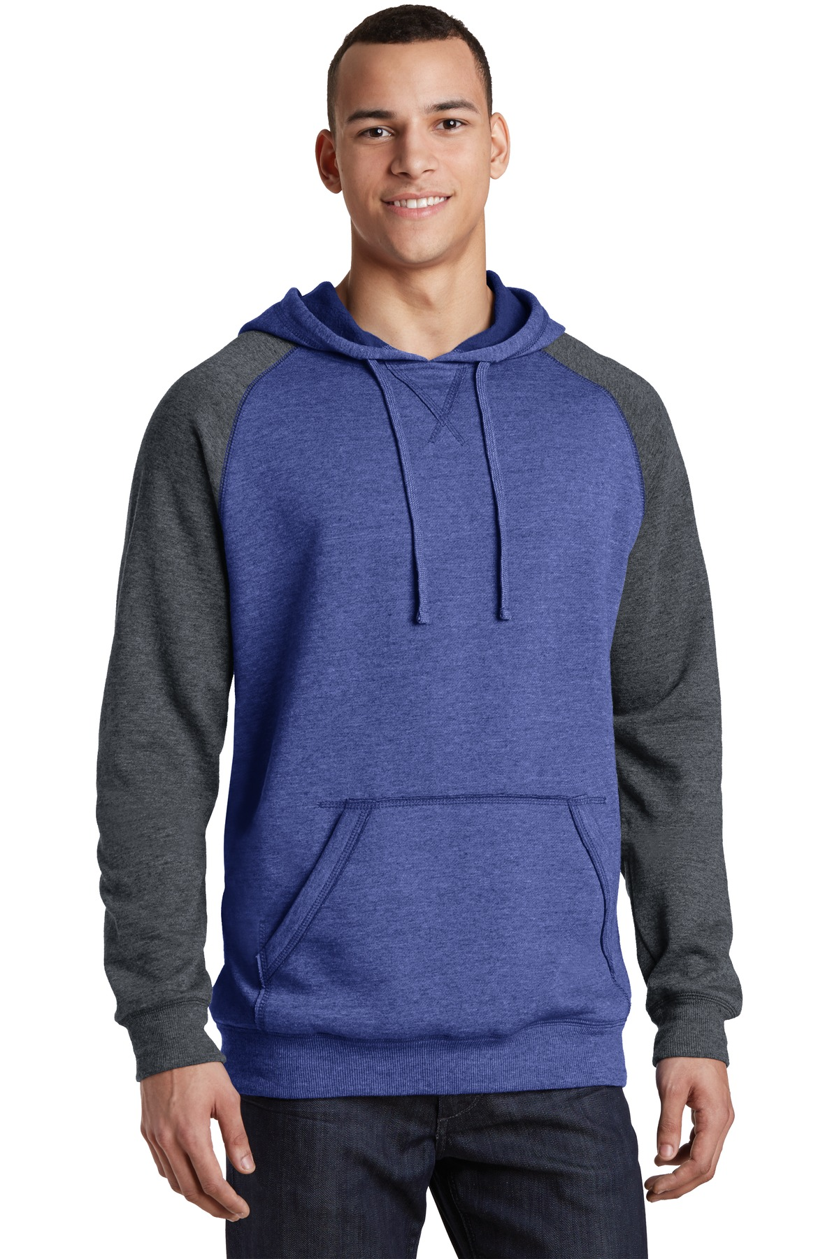 District ®  Young Mens Lightweight Fleece Raglan Hoodie.  DT196 - Heathered Deep Royal/ Heathered Charcoal