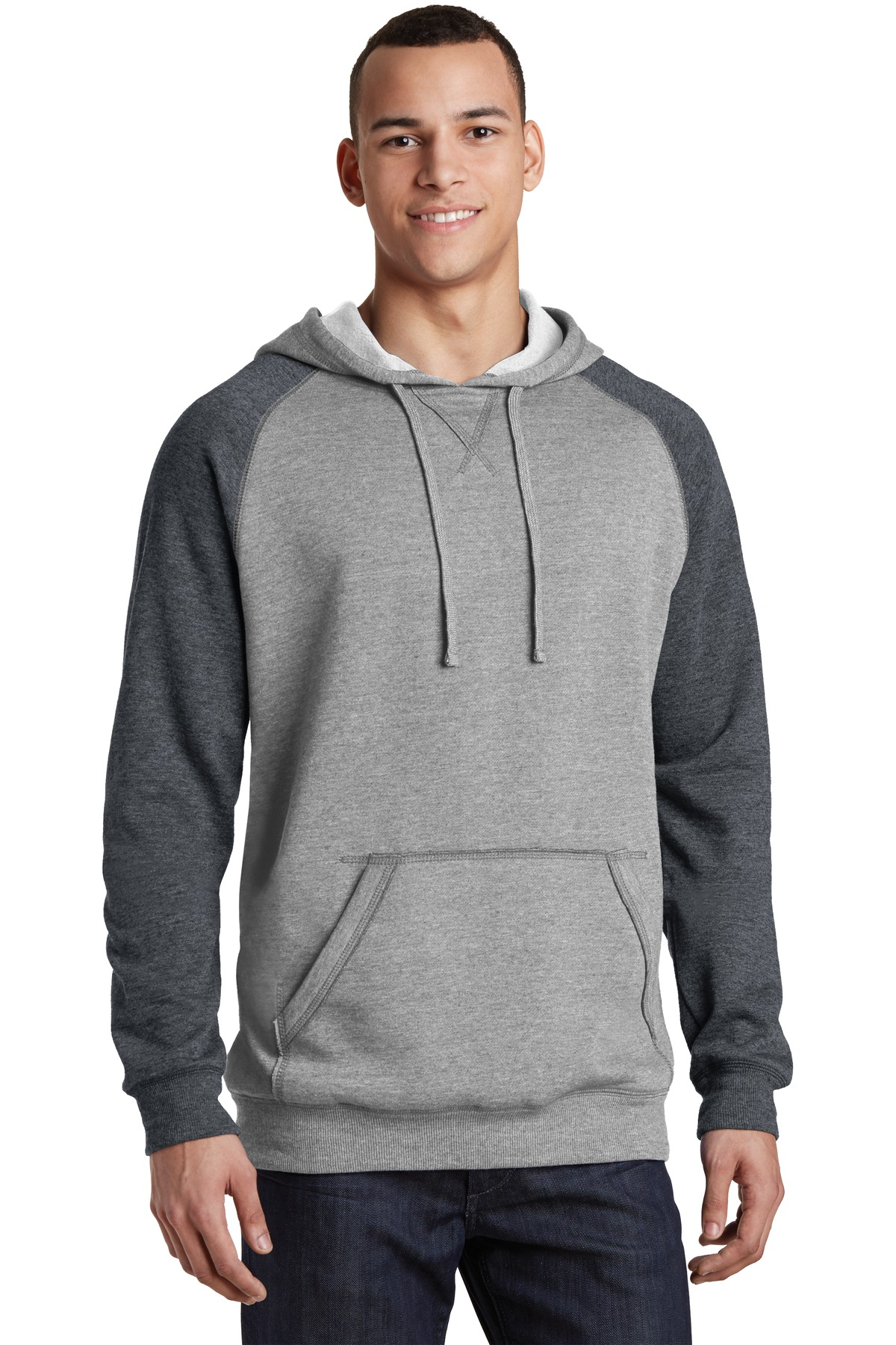 District ®  Young Mens Lightweight Fleece Raglan Hoodie.  DT196 - Heathered Grey/ Heathered Charcoal