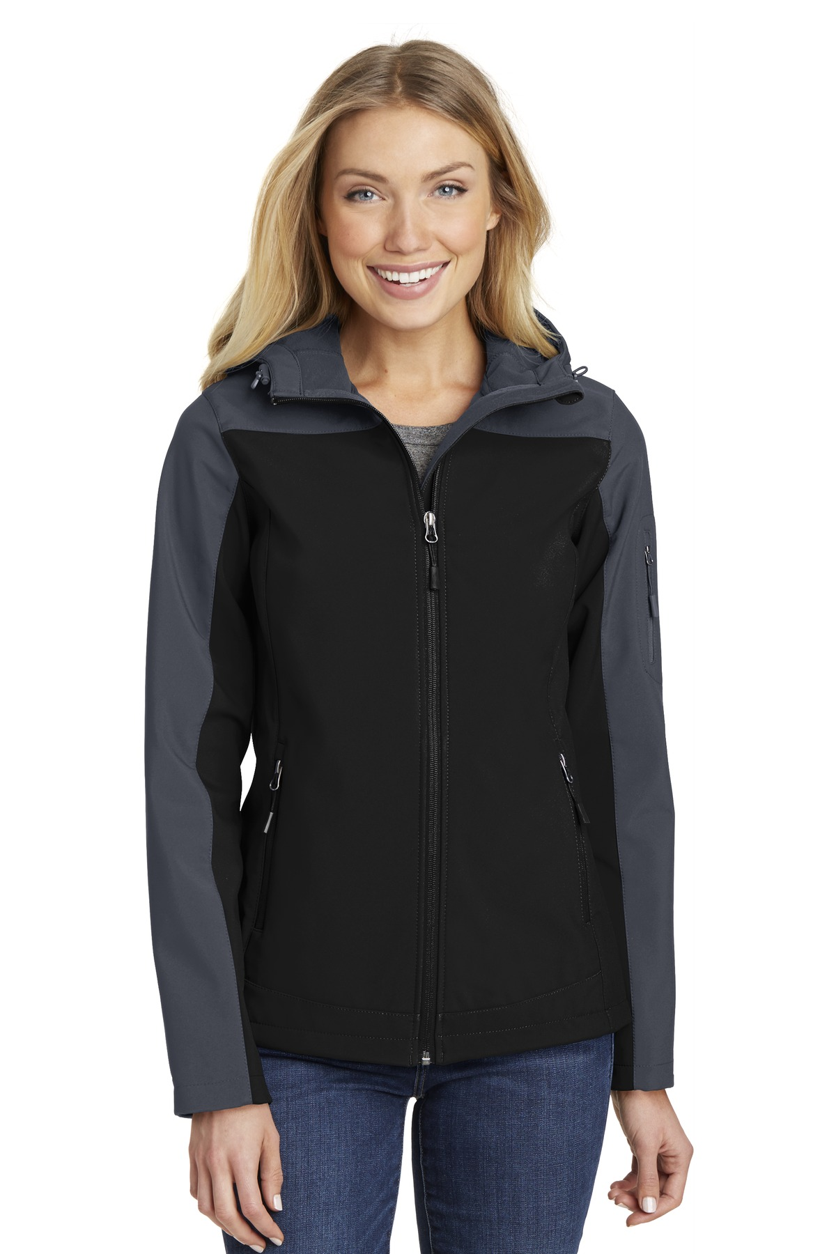 Port Authority ®  Ladies Hooded Core Soft Shell Jacket. L335 - Black/ Battleship Grey
