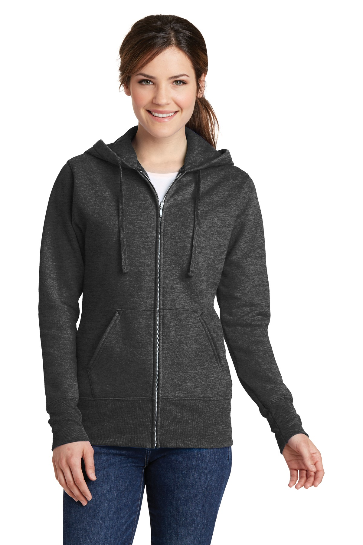 Port & Company ®  Ladies Core Fleece Full-Zip Hooded Sweatshirt. LPC78ZH - Dark Heather Grey