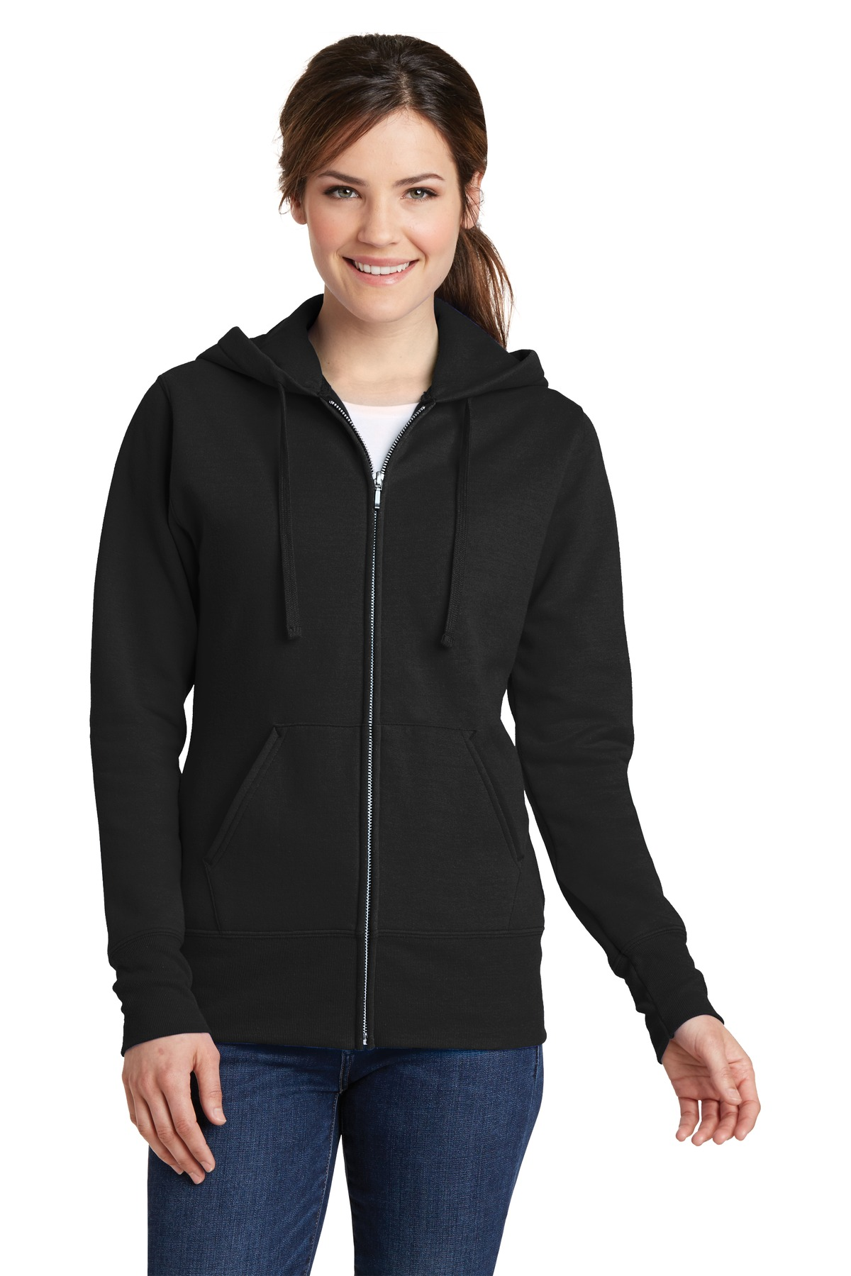 Port & Company ®  Ladies Core Fleece Full-Zip Hooded Sweatshirt. LPC78ZH - Jet Black