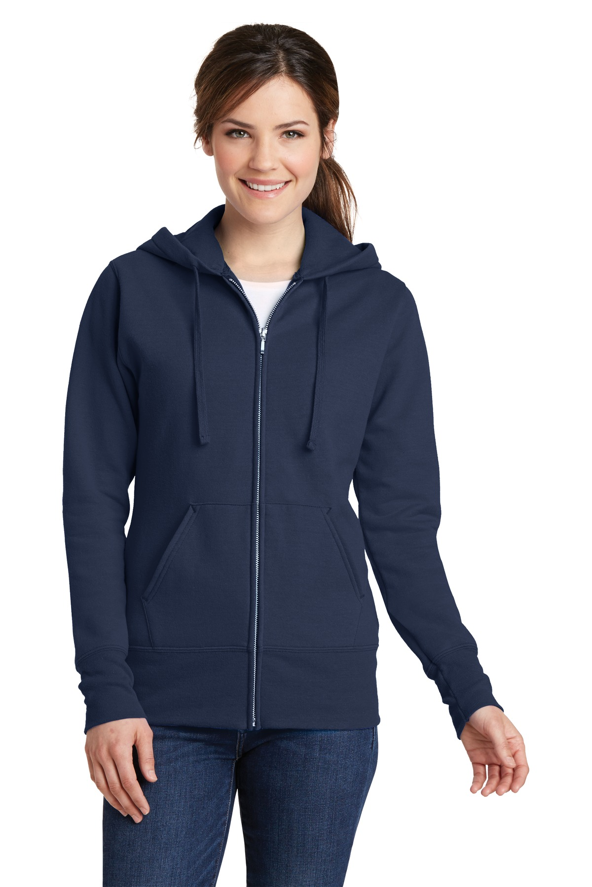 Port & Company ®  Ladies Core Fleece Full-Zip Hooded Sweatshirt. LPC78ZH - Navy