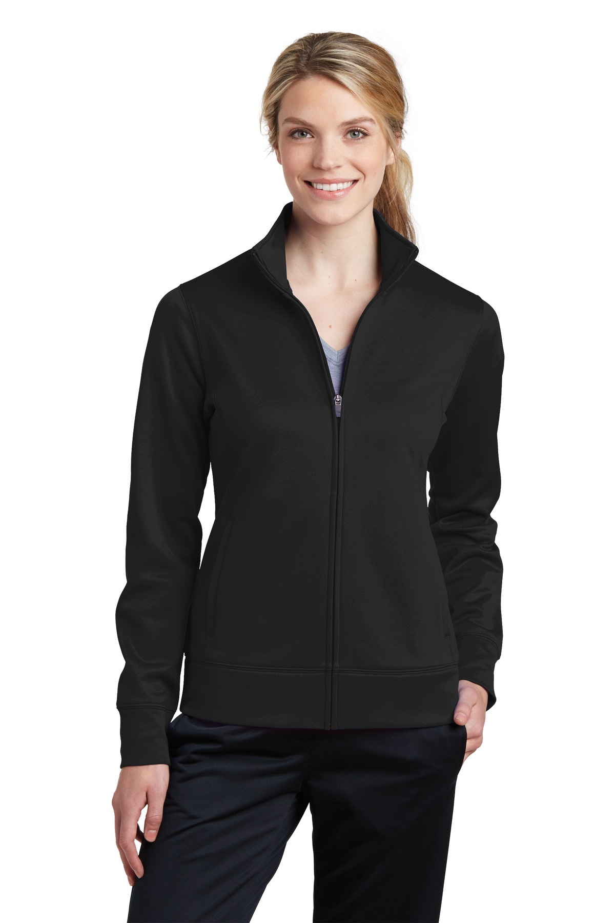 Sport-Tek ®  Ladies Sport-Wick ®  Fleece Full-Zip Jacket.  LST241 - Black