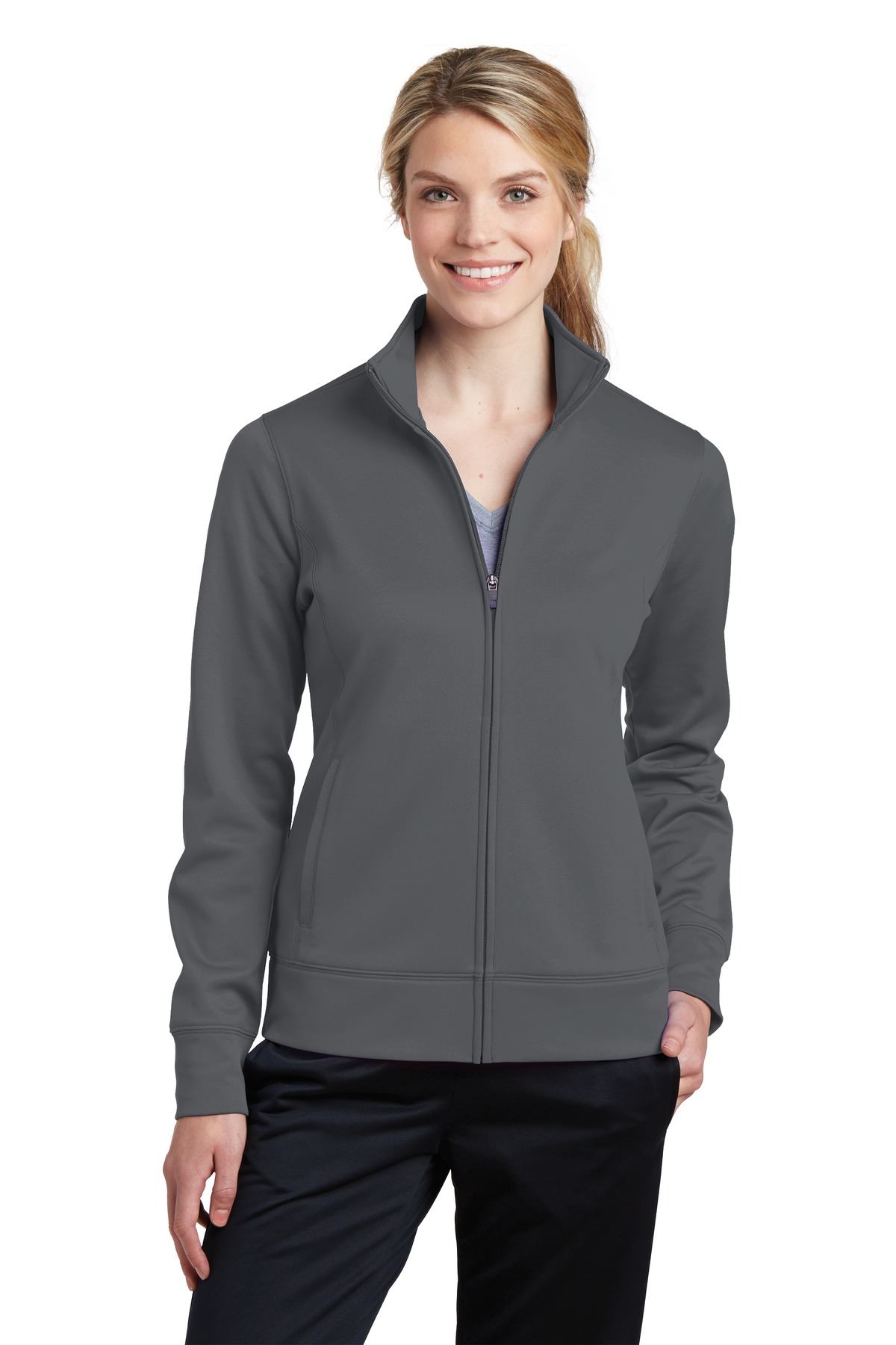 Sport-Tek ®  Ladies Sport-Wick ®  Fleece Full-Zip Jacket.  LST241 - Dark Smoke Grey