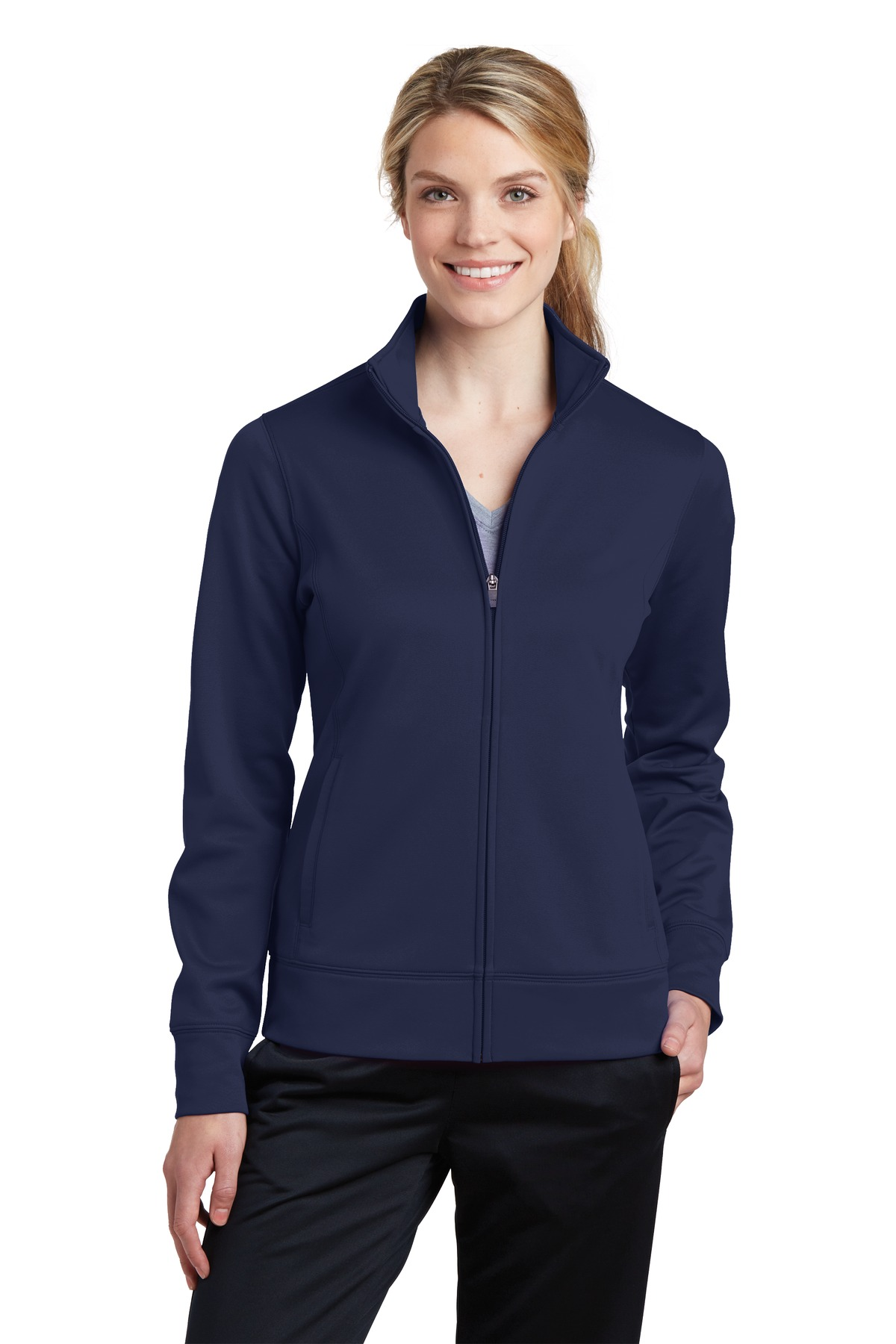 Sport-Tek ®  Ladies Sport-Wick ®  Fleece Full-Zip Jacket.  LST241 - Navy