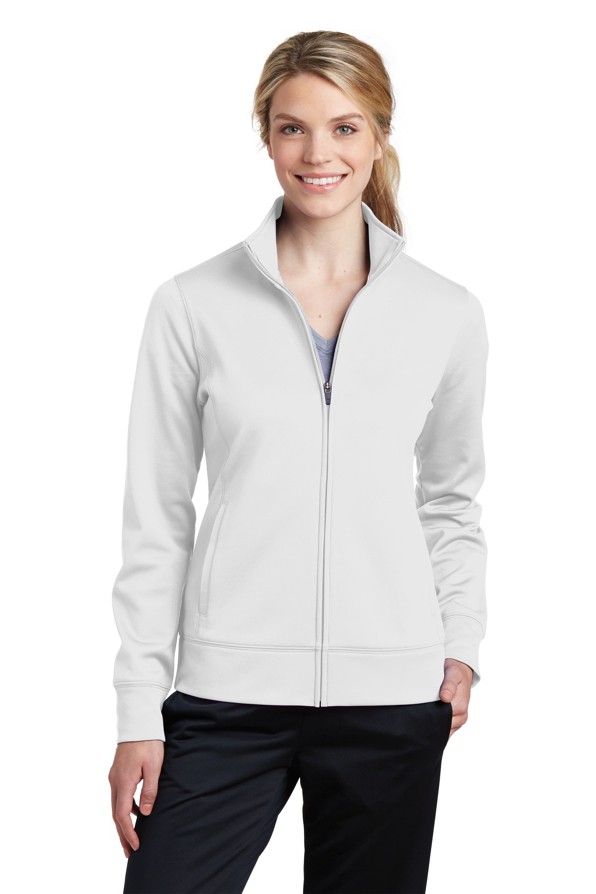 Sport-Tek ®  Ladies Sport-Wick ®  Fleece Full-Zip Jacket.  LST241 - White