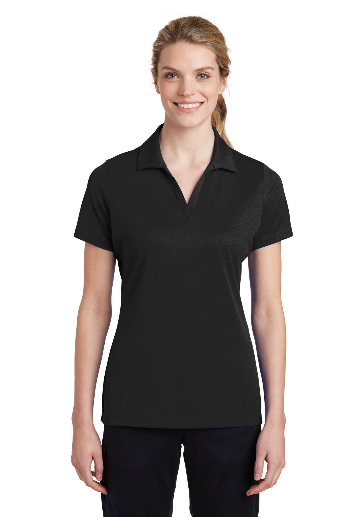 Sport-Tek ®  Ladies PosiCharge ®  RacerMesh ®  Polo. LST640 - Black