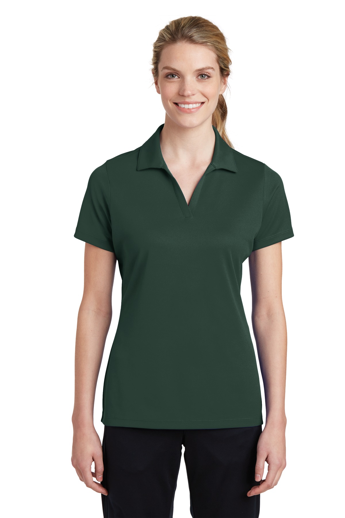 Sport-Tek ®  Ladies PosiCharge ®  RacerMesh ®  Polo. LST640 - Dark Forest Green