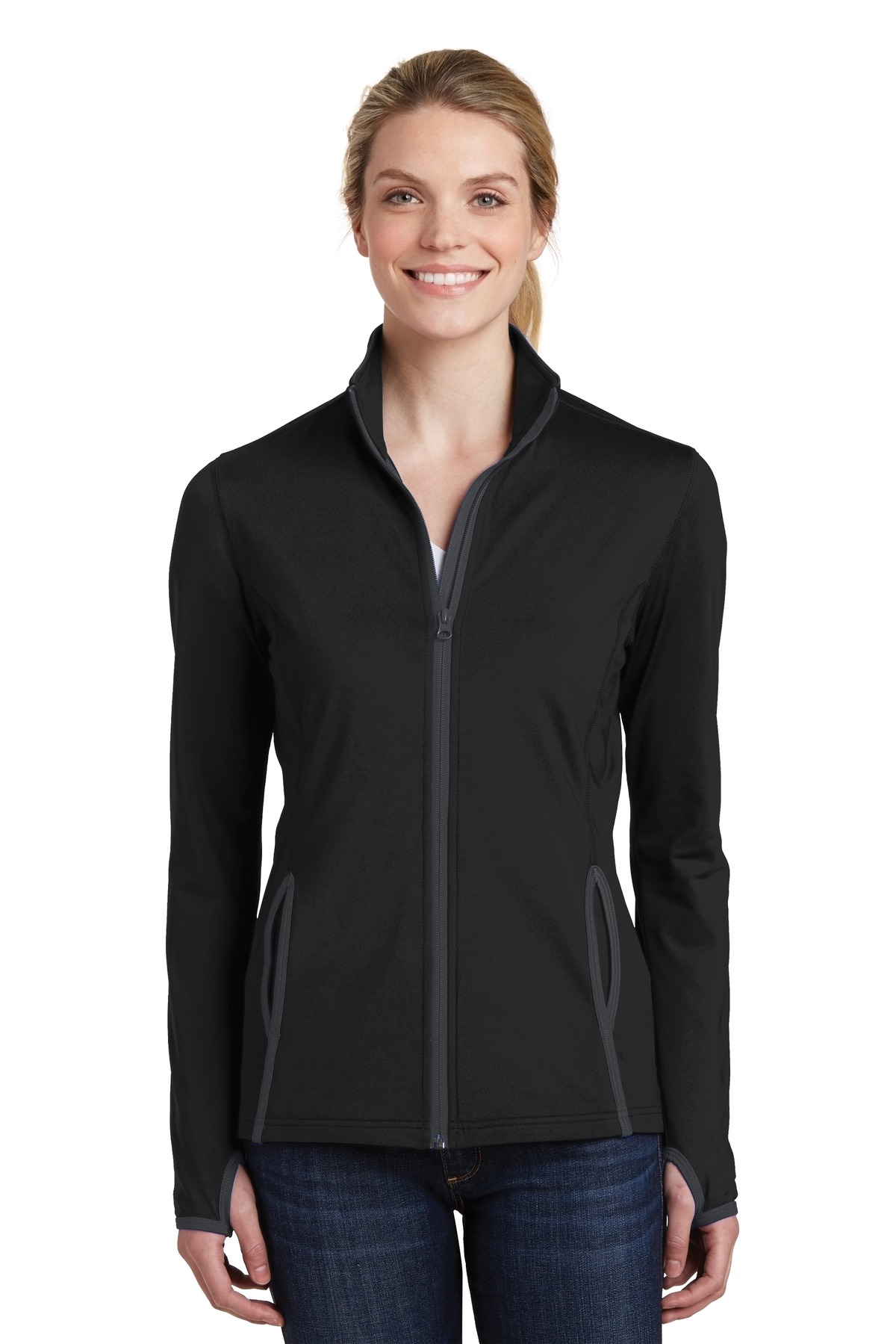 Sport-Tek ®  Ladies Sport-Wick ®  Stretch Contrast Full-Zip Jacket.  LST853 - Black/ Charcoal Grey
