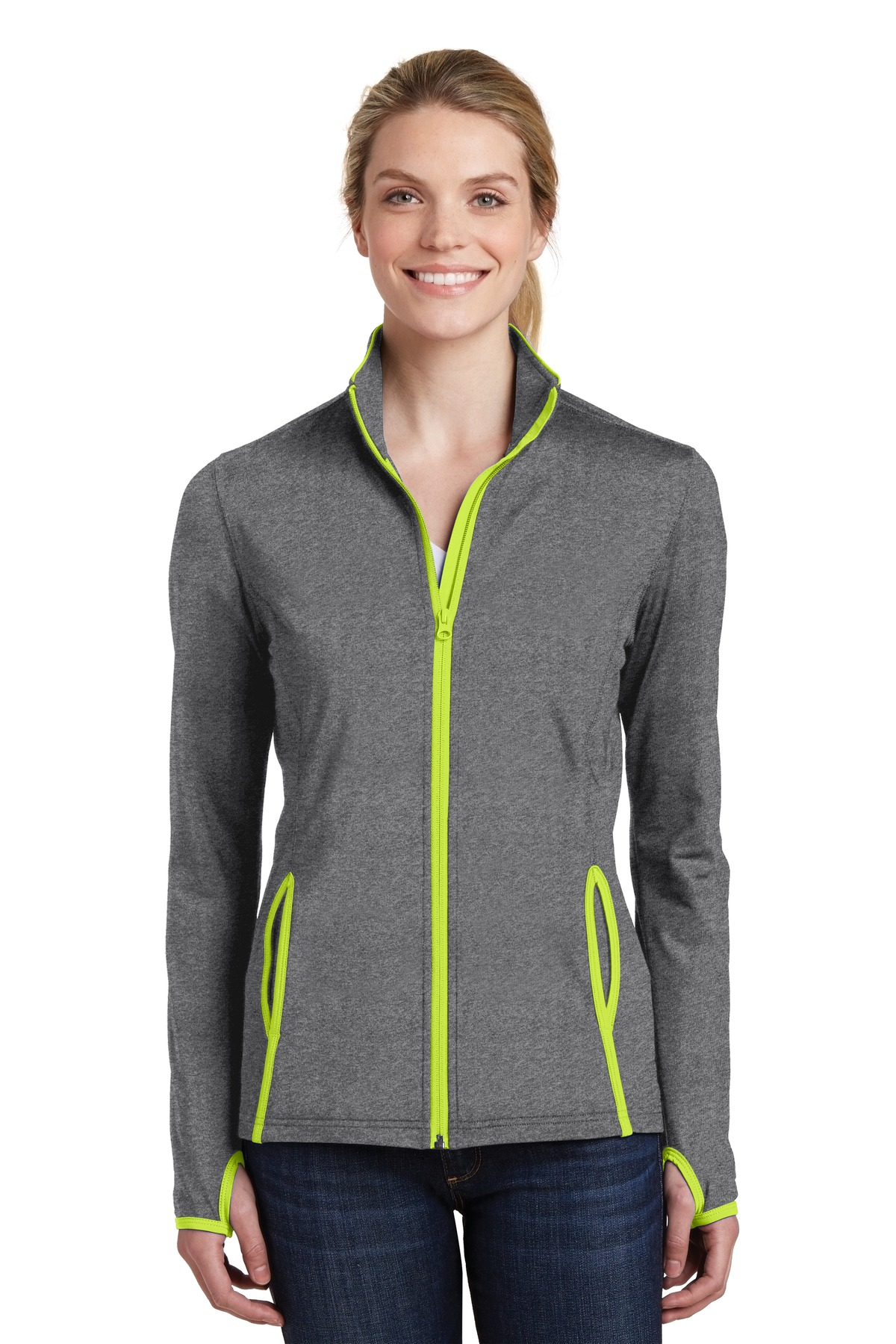 Sport-Tek ®  Ladies Sport-Wick ®  Stretch Contrast Full-Zip Jacket.  LST853 - Charcoal Grey Heather/ Charge Green