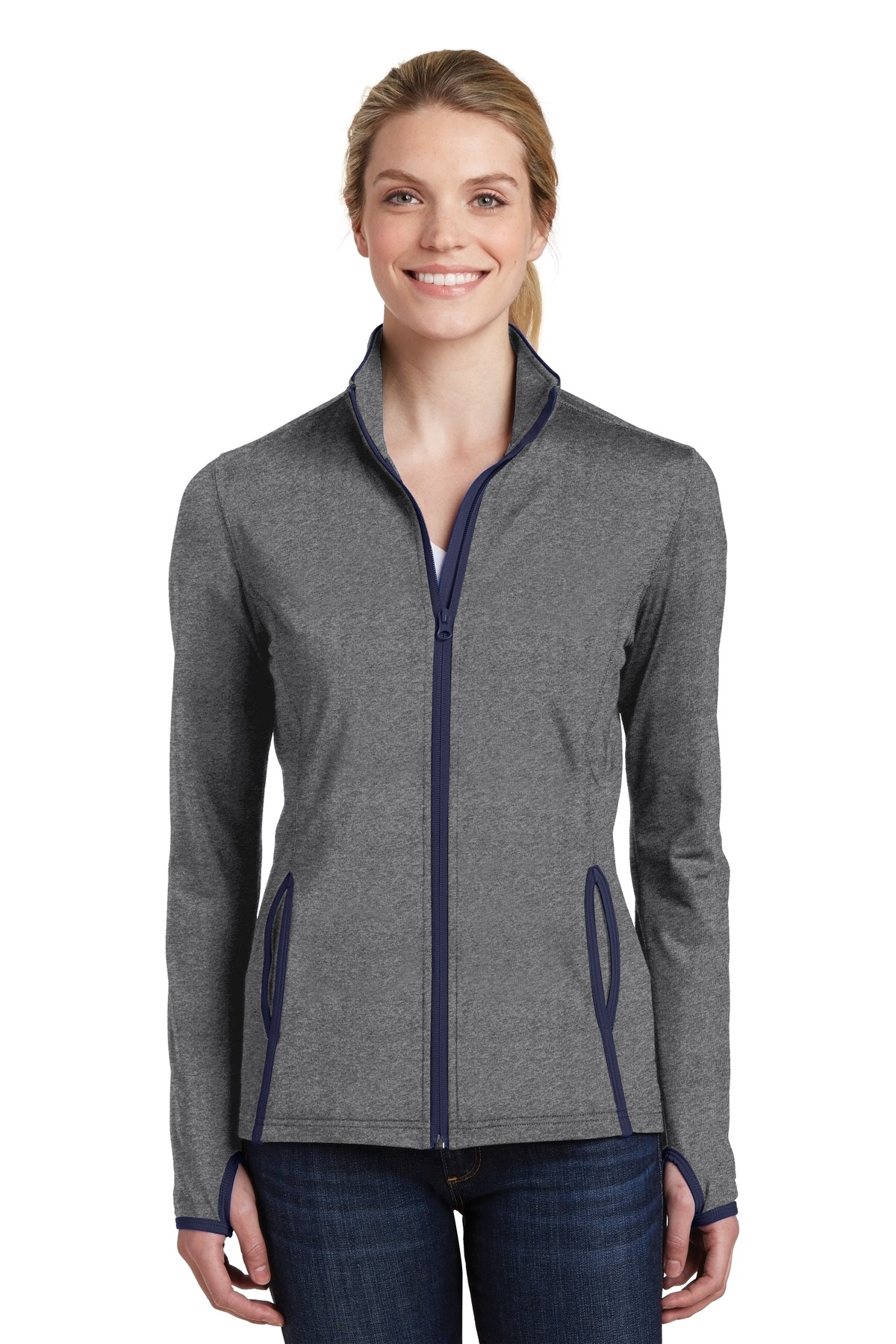 Sport-Tek ®  Ladies Sport-Wick ®  Stretch Contrast Full-Zip Jacket.  LST853 - Charcoal Grey Heather/ True Navy