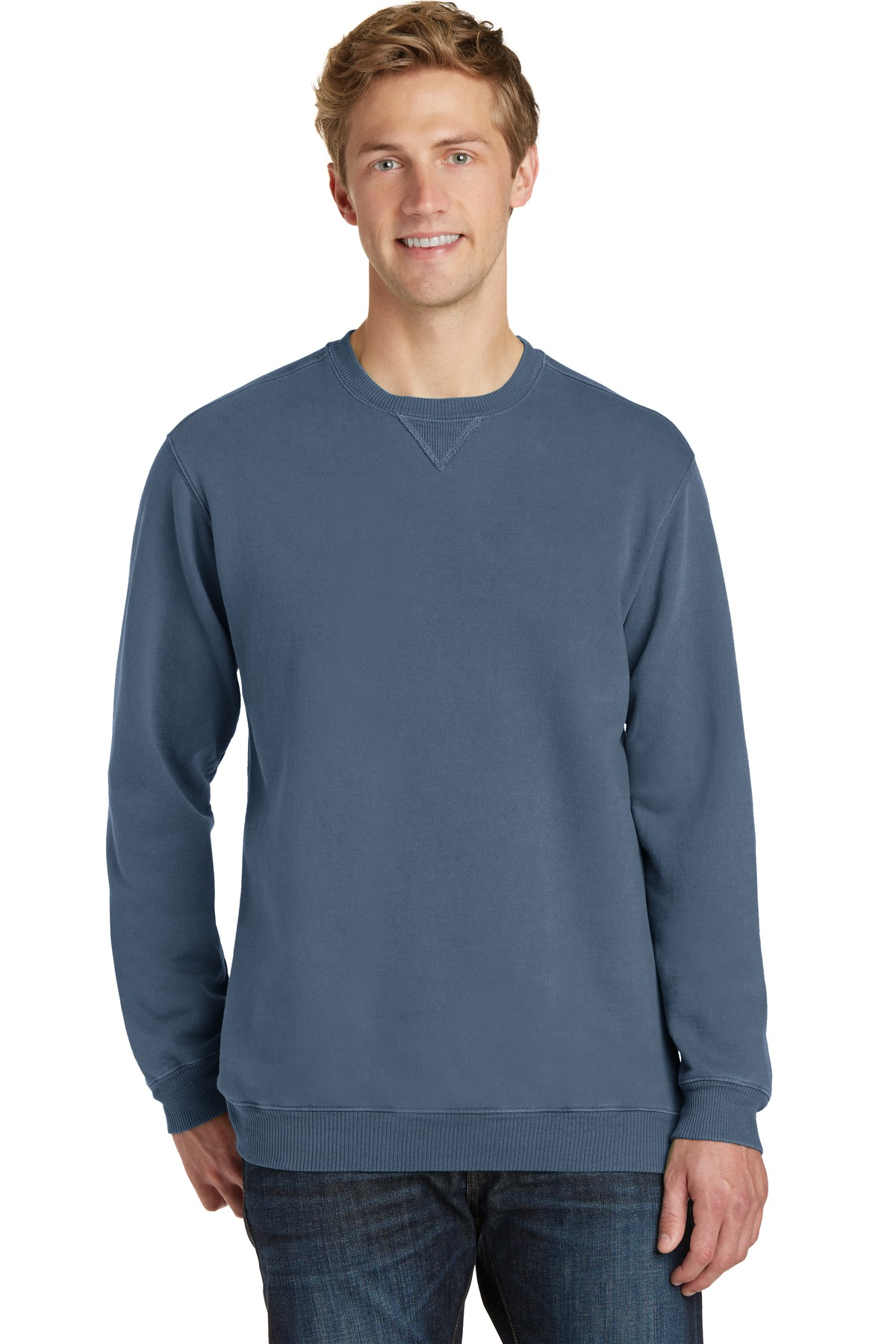 Port & Company ®  Beach Wash ™  Garment-Dyed Sweatshirt PC098 - Denim Blue