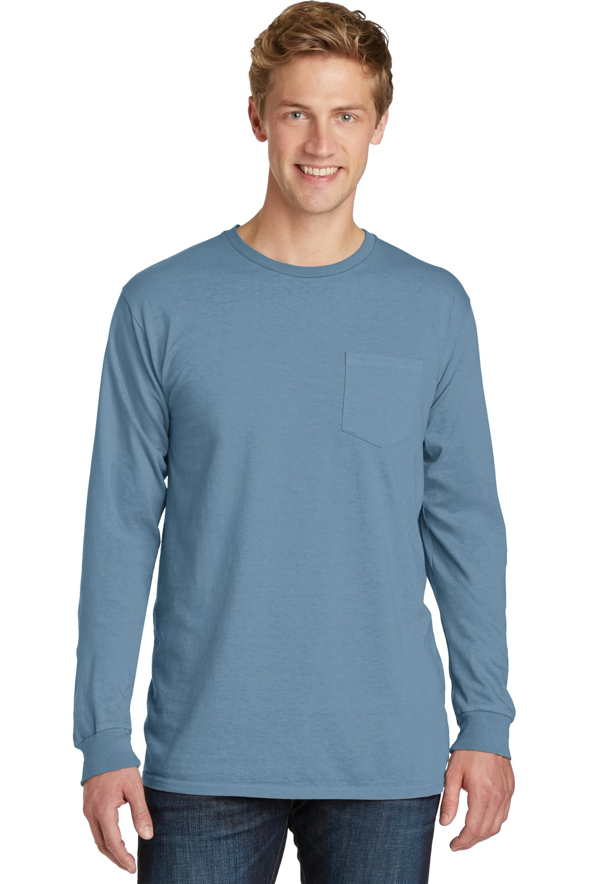 Port and Company Beach Wash Garment-Dye Long Sleeve Pocket Tee PC099LSP