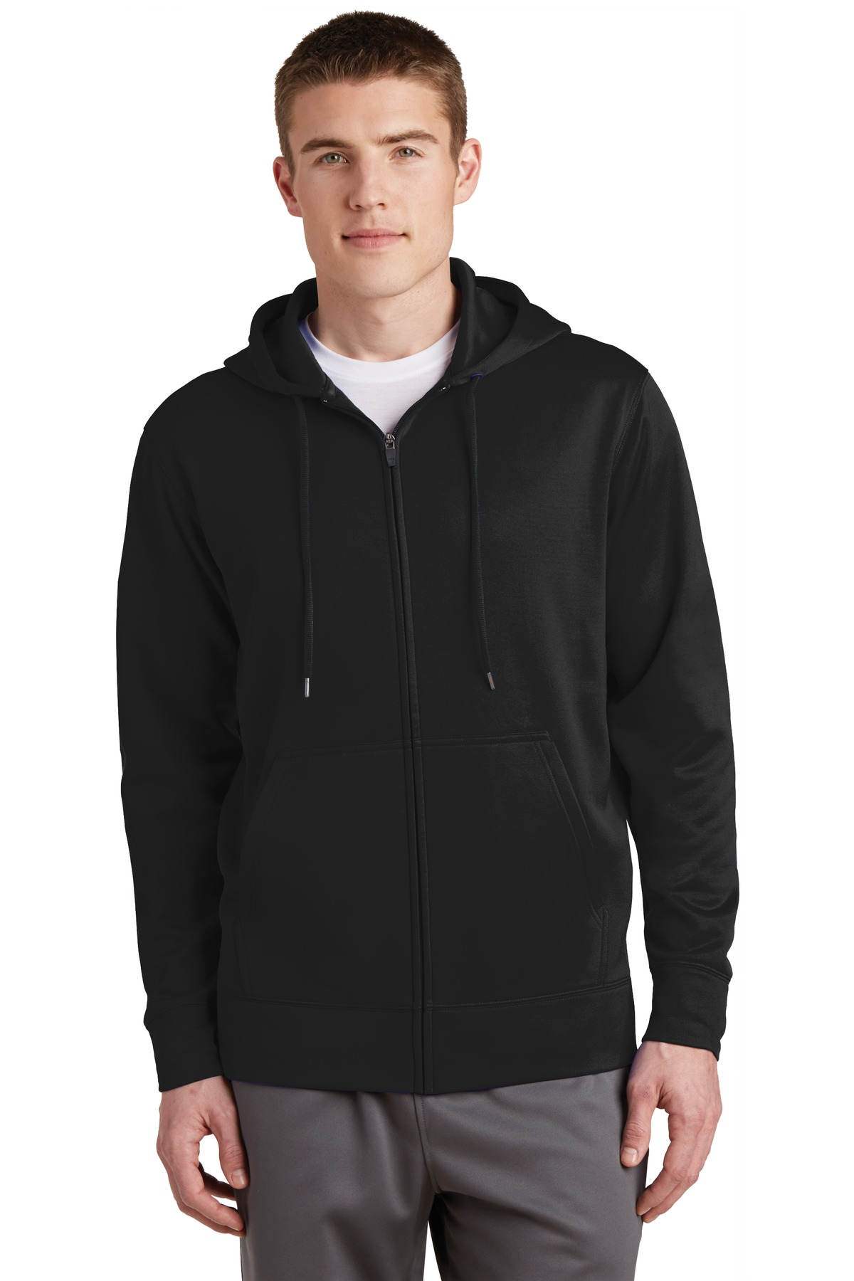 Sport-Tek ®  Sport-Wick ®  Fleece Full-Zip Hooded Jacket.  ST238 - Black