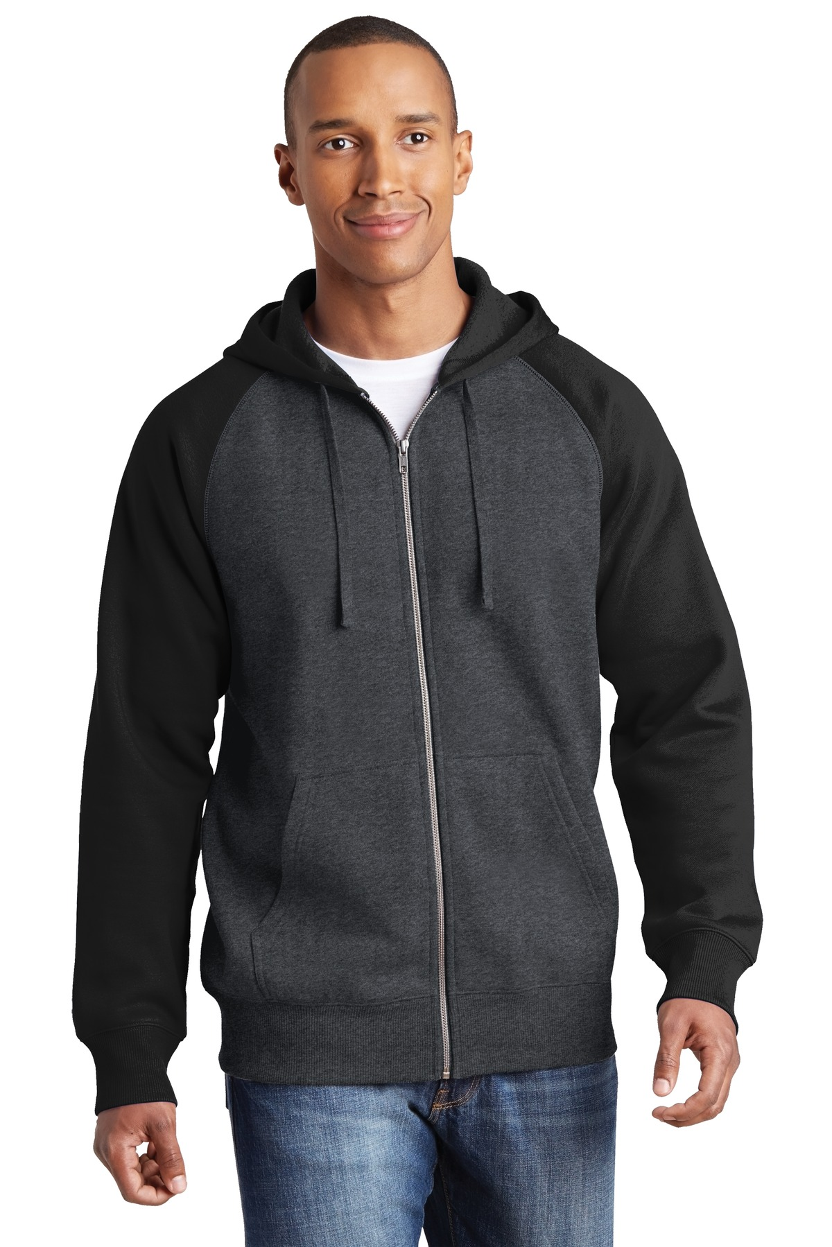 Sport-Tek ®  Raglan Colorblock Full-Zip Hooded Fleece Jacket.  ST269 - Graphite Heather/ Black