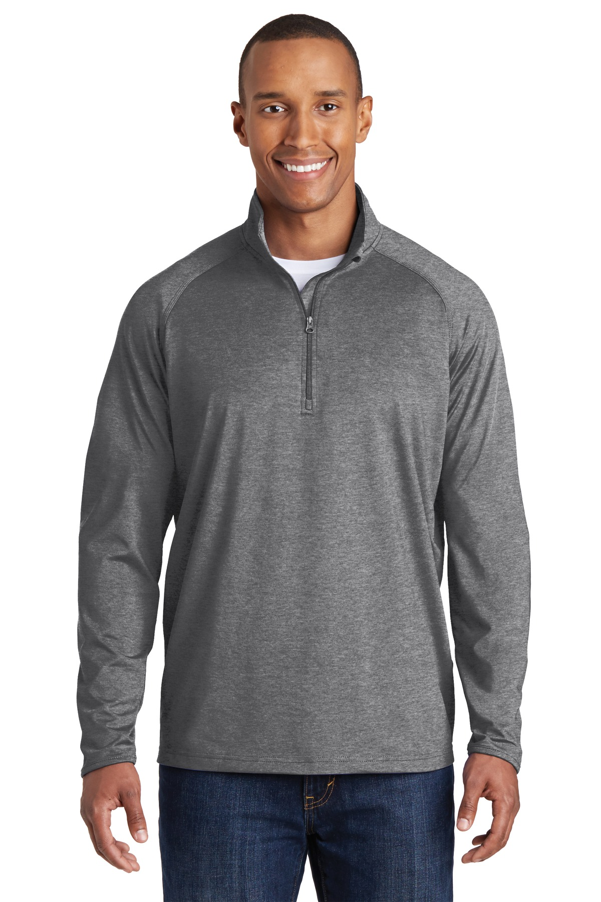 Sport-Tek ®  Sport-Wick ®  Stretch 1/2-Zip Pullover. ST850 - Charcoal Grey Heather