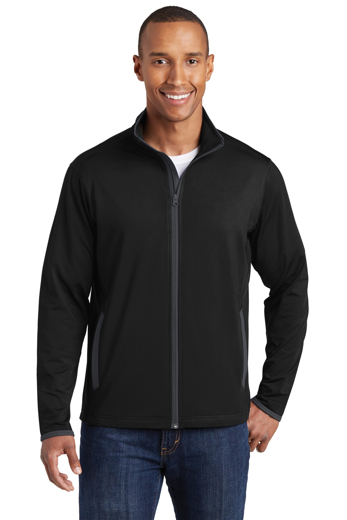Sport-Tek ®  Sport-Wick ®  Stretch Contrast Full-Zip Jacket.  ST853 - Black/ Charcoal Grey
