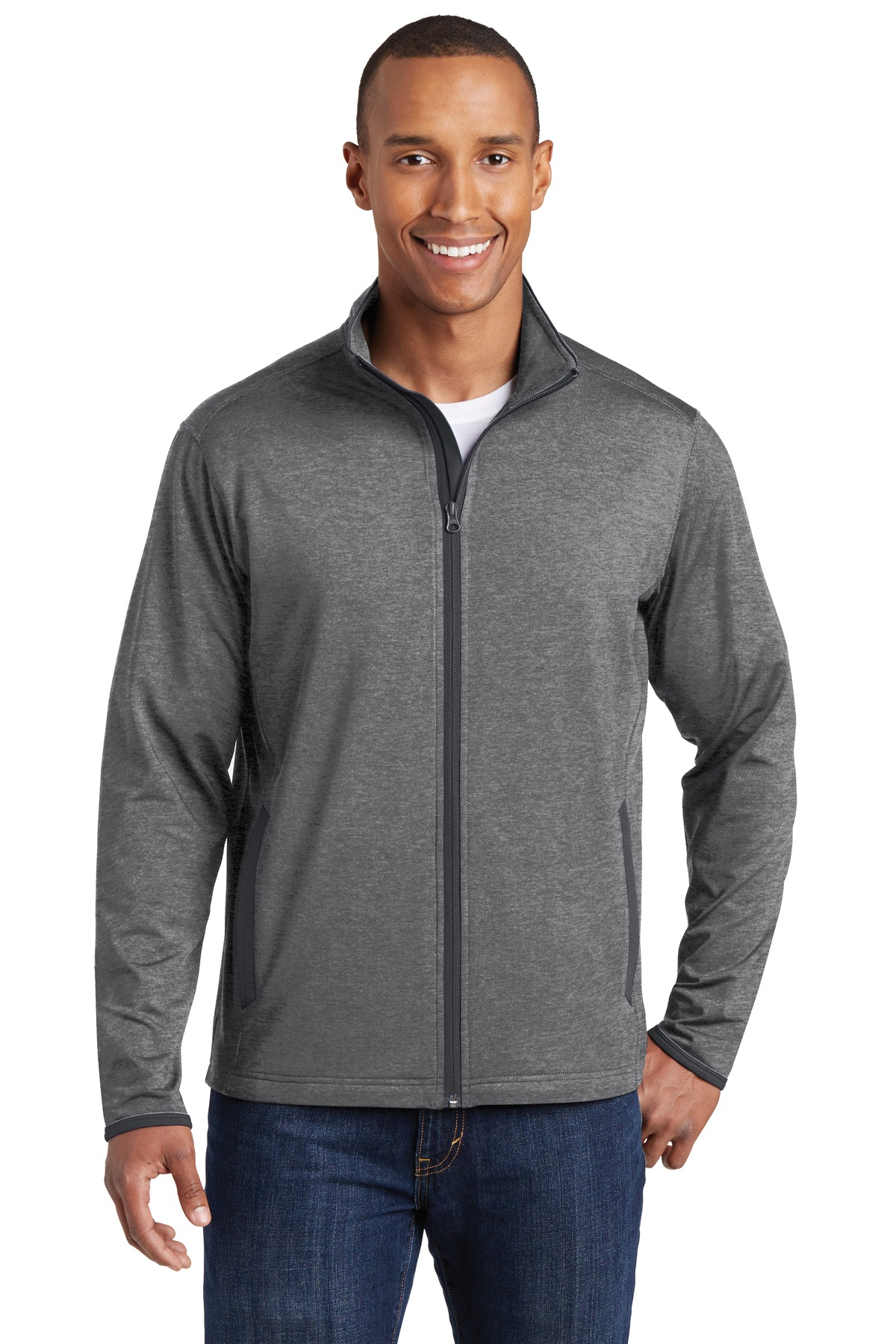 Sport-Tek ®  Sport-Wick ®  Stretch Contrast Full-Zip Jacket.  ST853 - Charcoal Grey Heather/ Charcoal Grey
