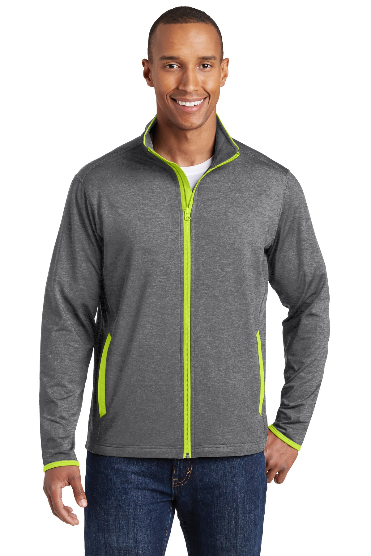 Sport-Tek ®  Sport-Wick ®  Stretch Contrast Full-Zip Jacket.  ST853 - Charcoal Grey Heather/ Charge Green