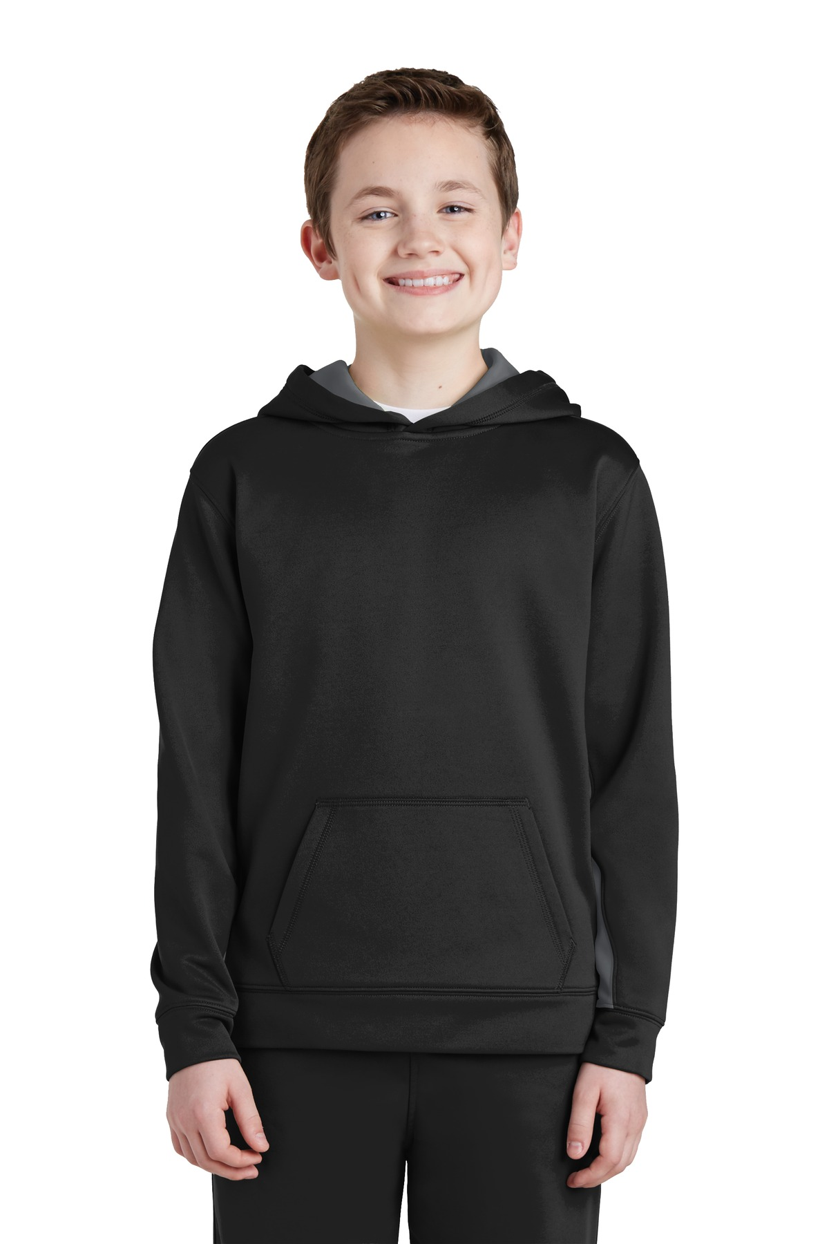Sport-Tek ®  Youth Sport-Wick ®  Fleece Colorblock Hooded Pullover.  YST235 - Black/ Dark Smoke Grey