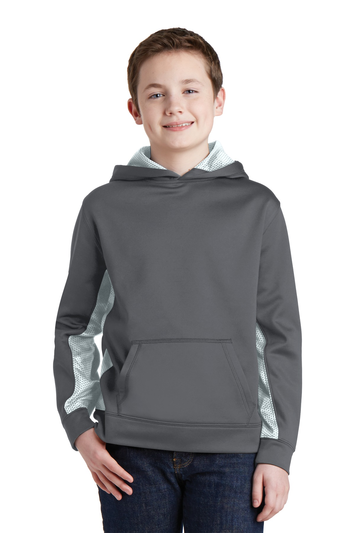 Sport-Tek ®  Youth Sport-Wick ®  CamoHex Fleece Colorblock Hooded Pullover.  YST239 - Dark Smoke Grey/ White
