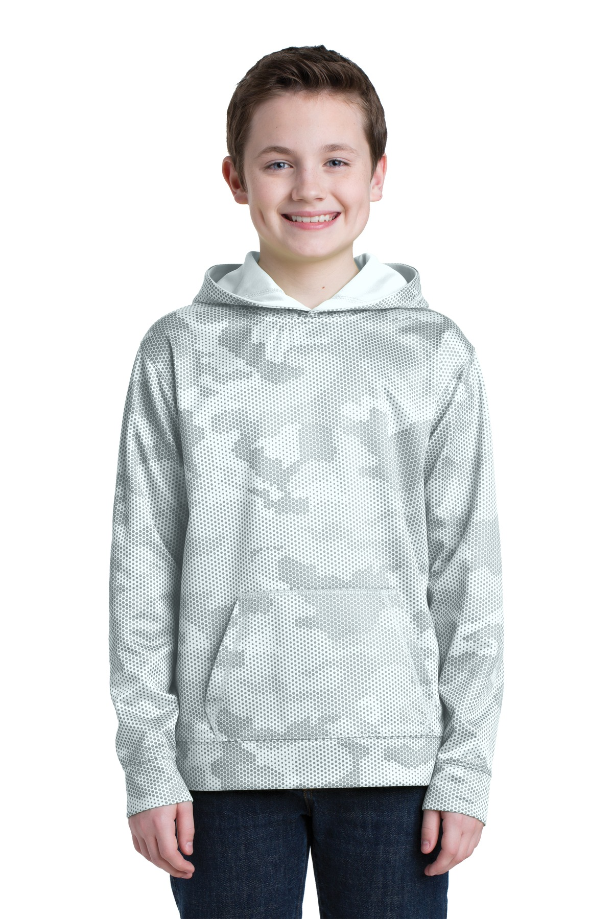 Sport-Tek ®  Youth Sport-Wick ®  CamoHex Fleece Hooded Pullover.  YST240 - White
