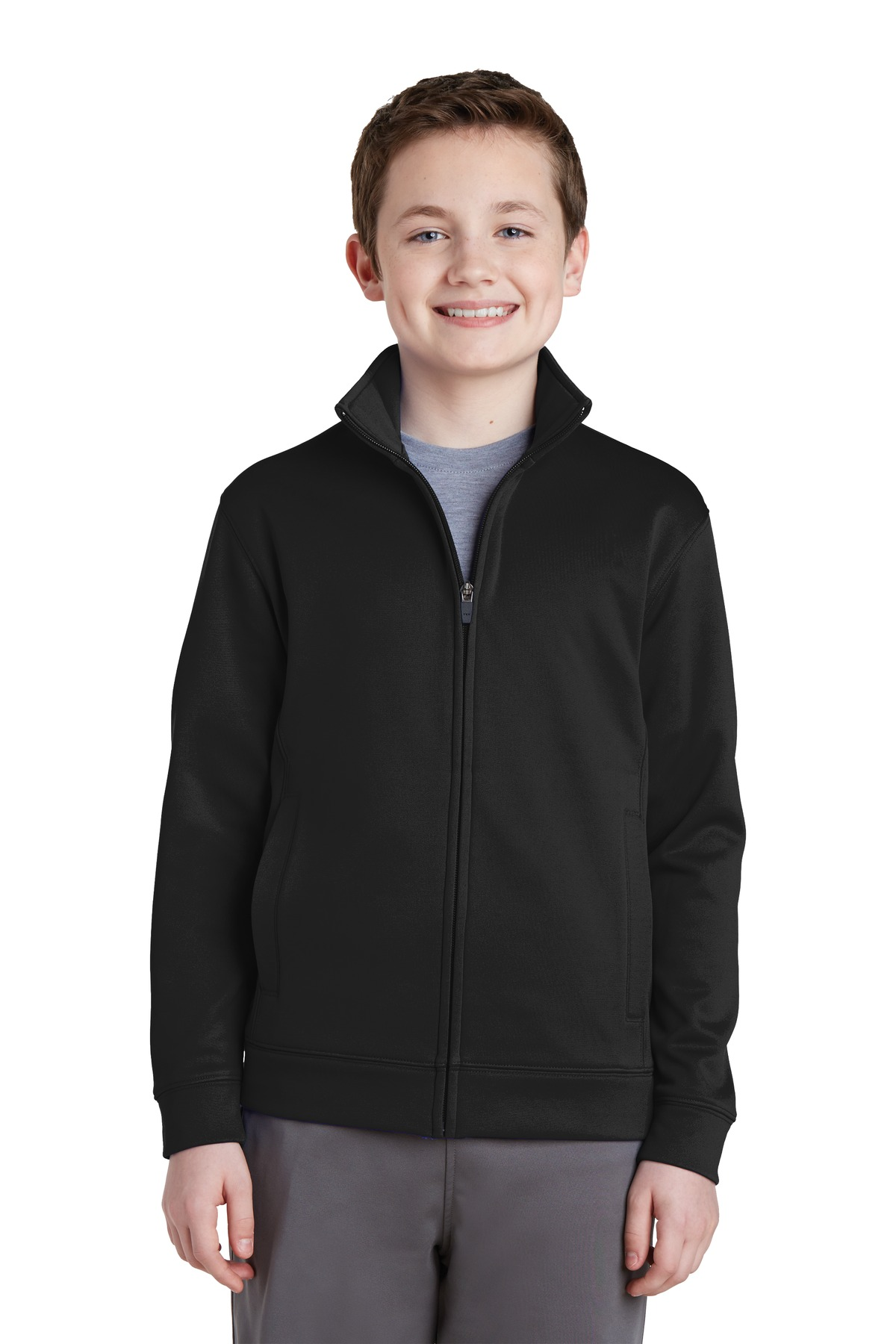 Sport-Tek ®  Youth Sport-Wick ®  Fleece Full-Zip Jacket.  YST241 - Black
