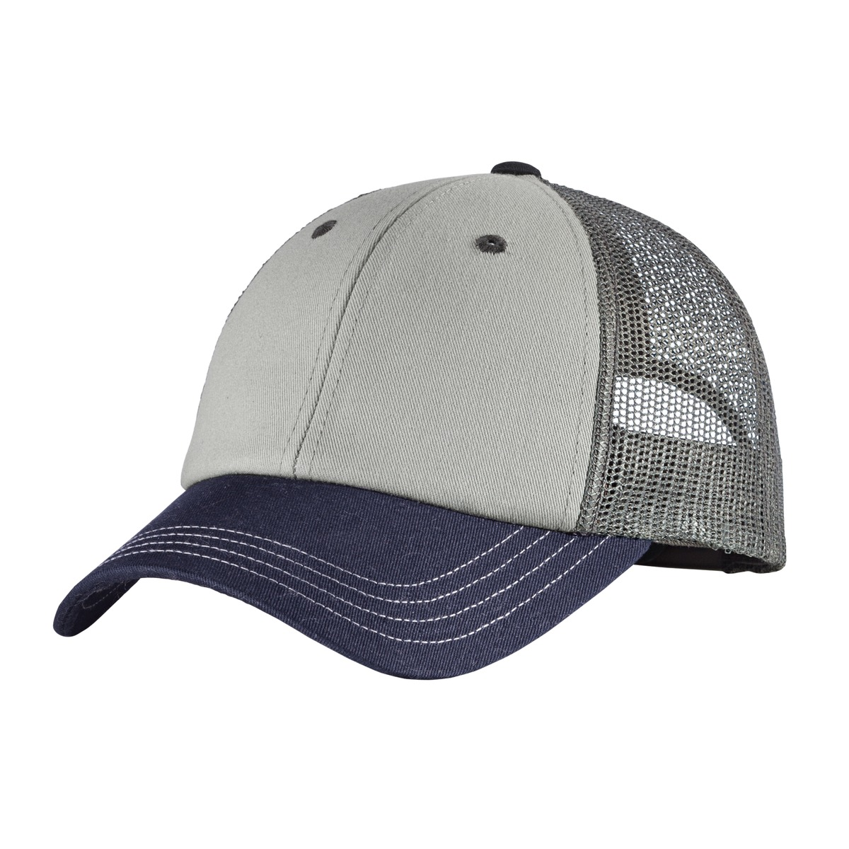 District ®  Tri-Tone Mesh Back Cap DT616 - Chrome/New Navy/Charcoal