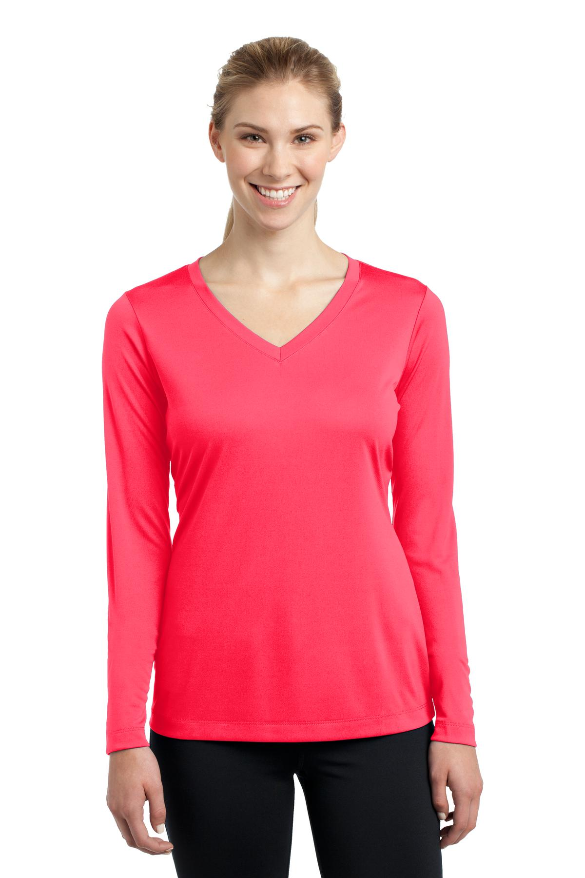 Sport-Tek ®  Ladies Long Sleeve PosiCharge ®  Competitor™ V-Neck Tee. LST353LS - Hot Coral