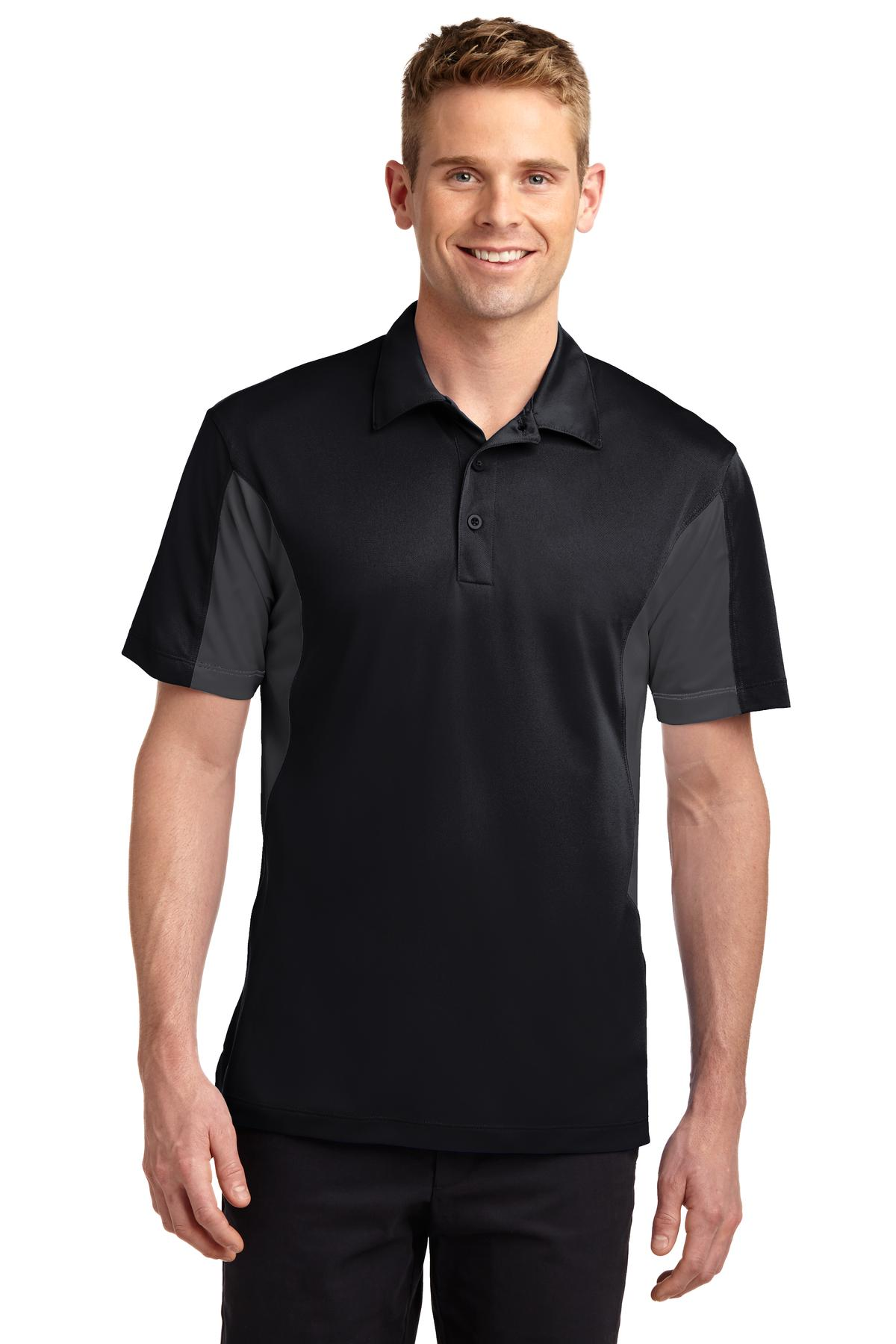 Sport-Tek ®  Side Blocked Micropique Sport-Wick ®  Polo. ST655 - Black/ Iron Grey