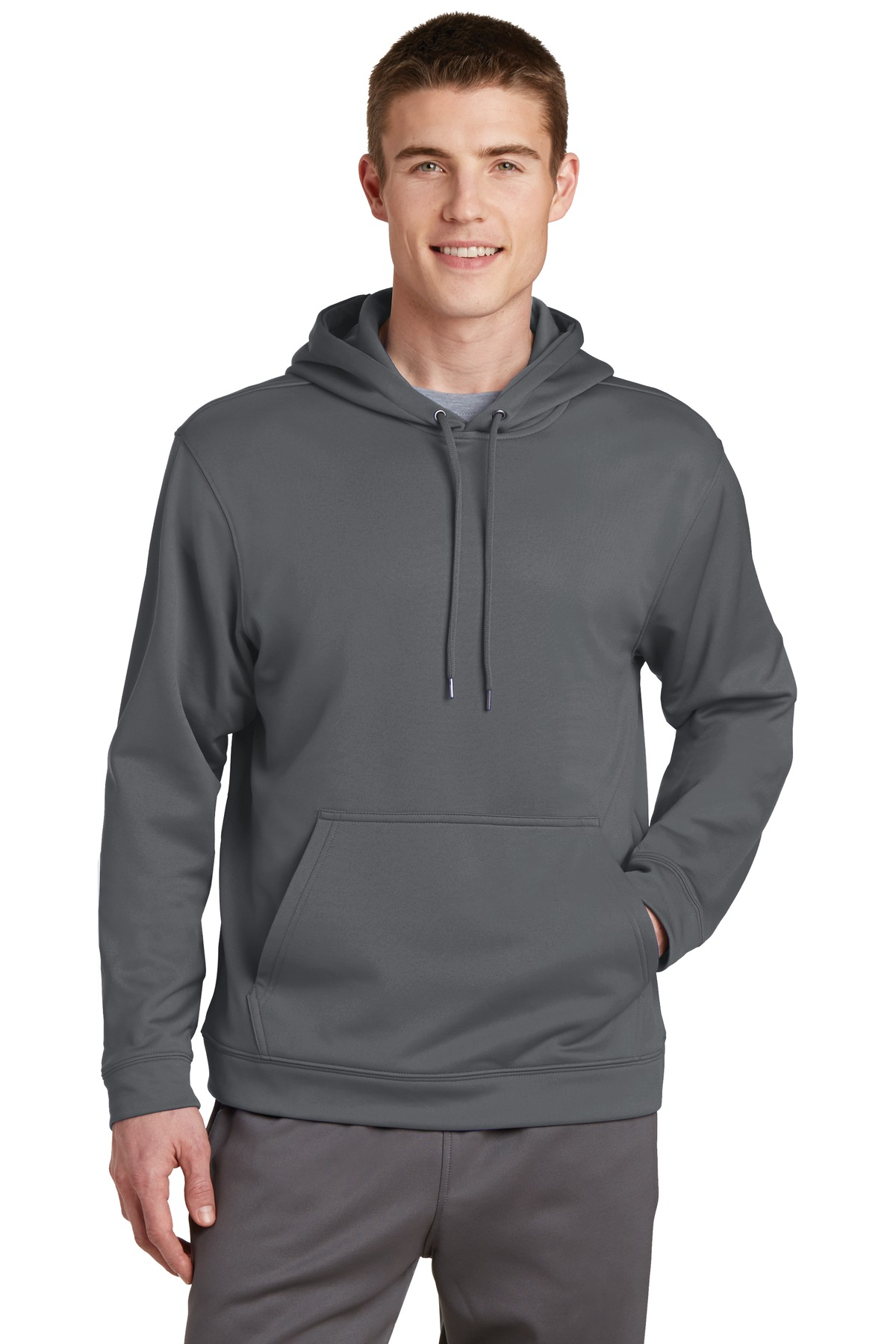 Sport-Tek ®  Sport-Wick ®  Fleece Hooded Pullover.  F244 - Dark Smoke Grey